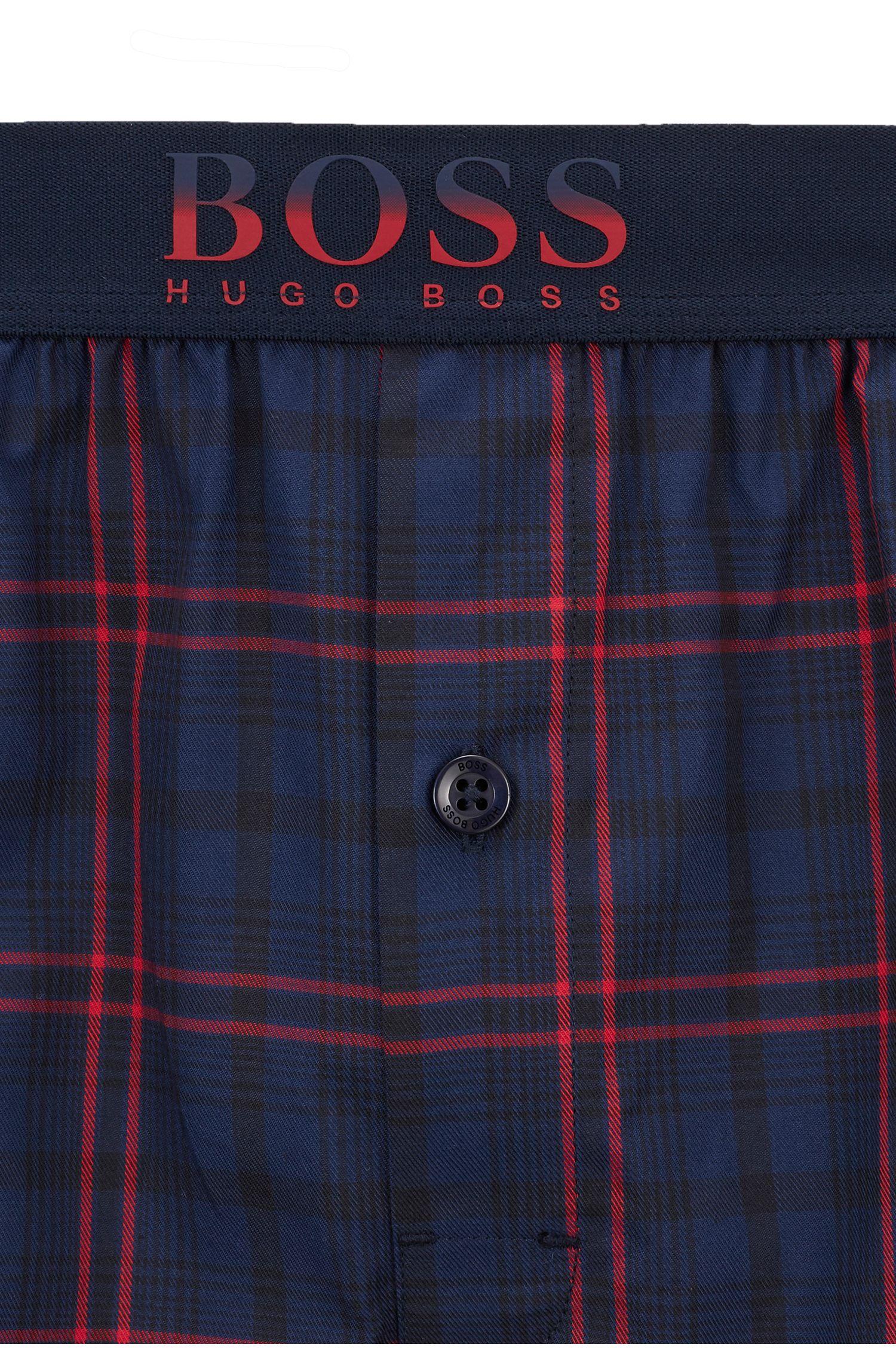 Short de pyjama en twill de coton, à motif à carreaux, Bleu foncé