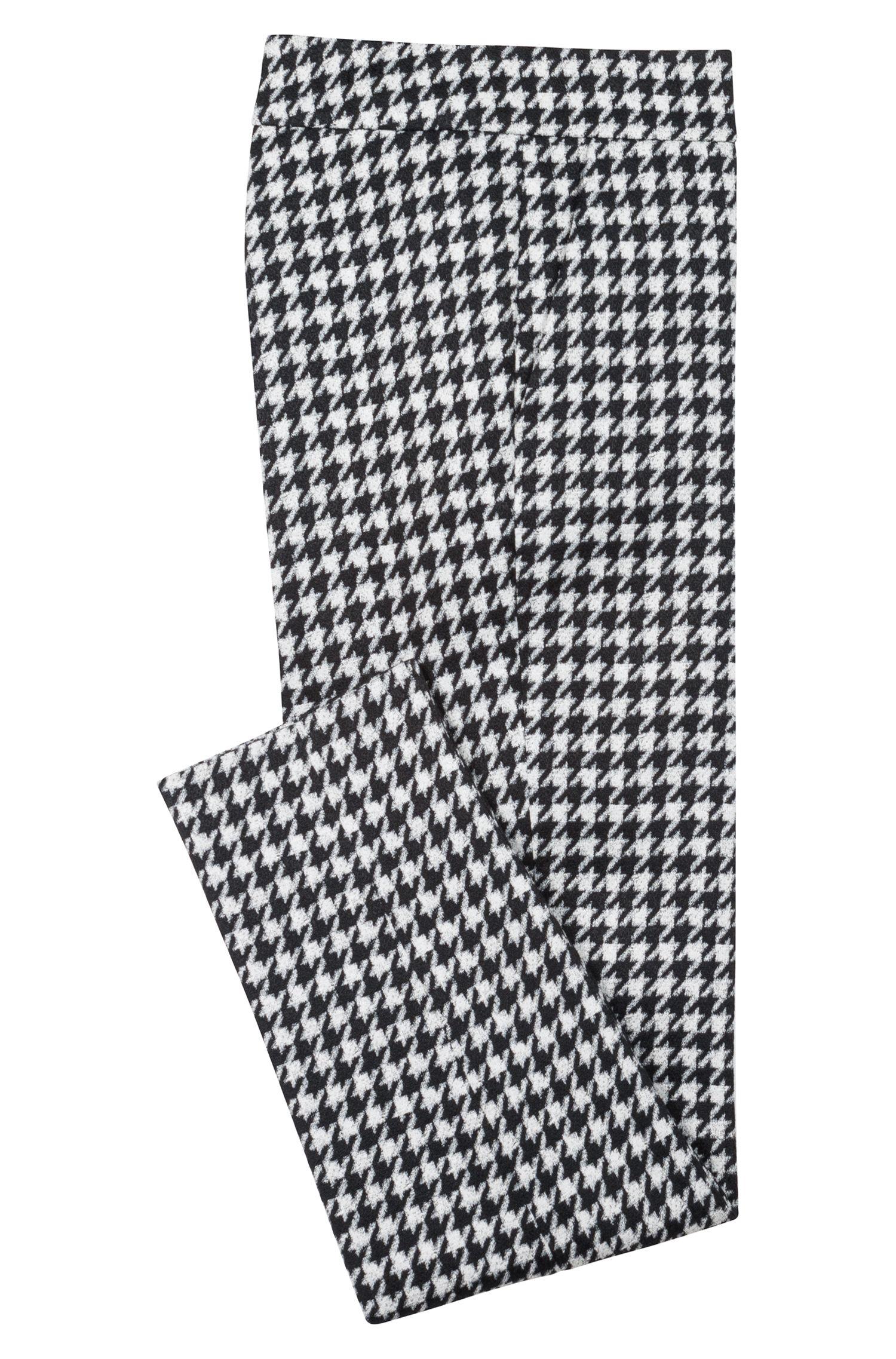 Slim-fit cropped broek in een pied-de-poule-ruit, Bedrukt