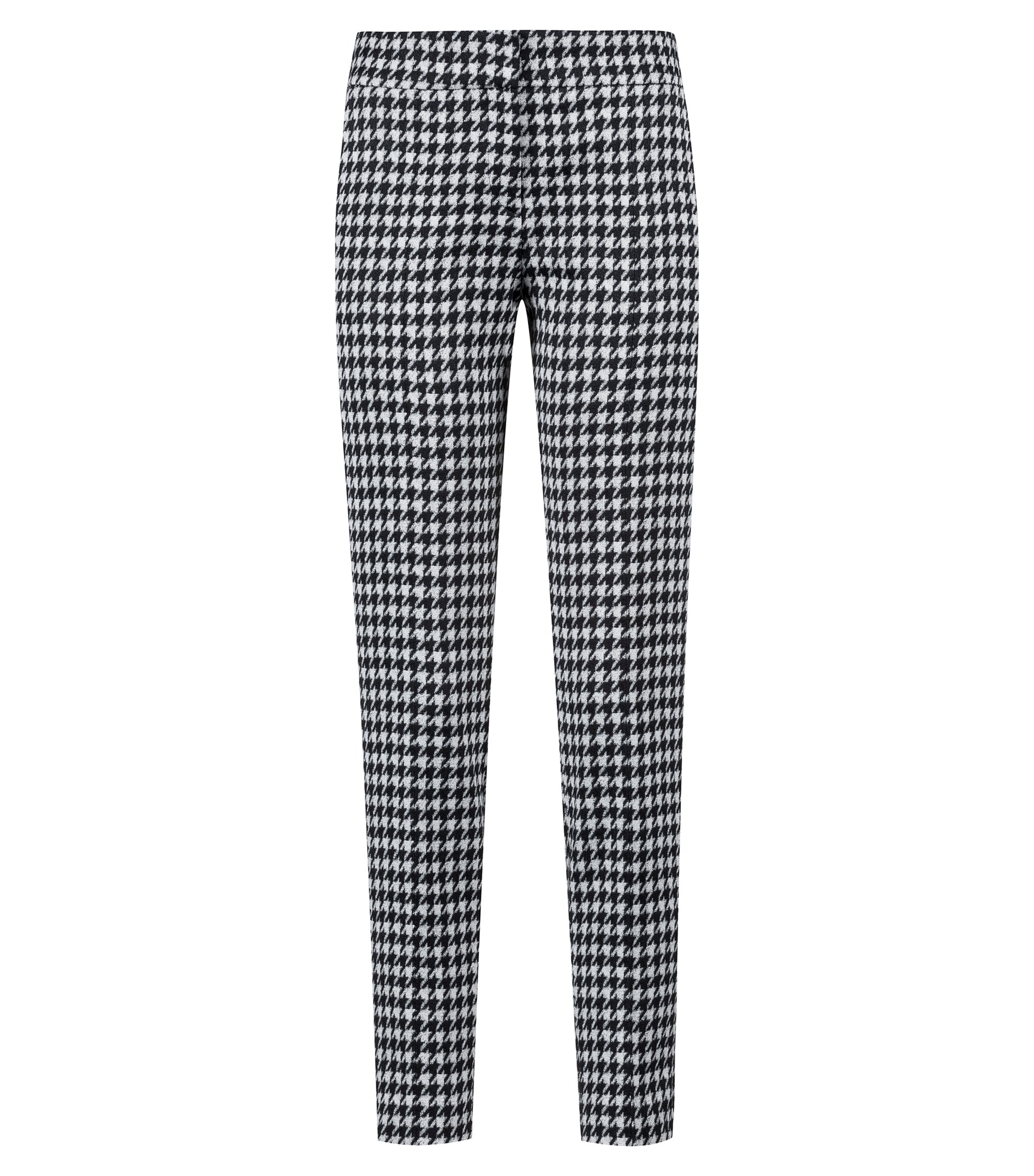 Slim-fit cropped broek in een pied-de-poule-ruit, Bedrukt