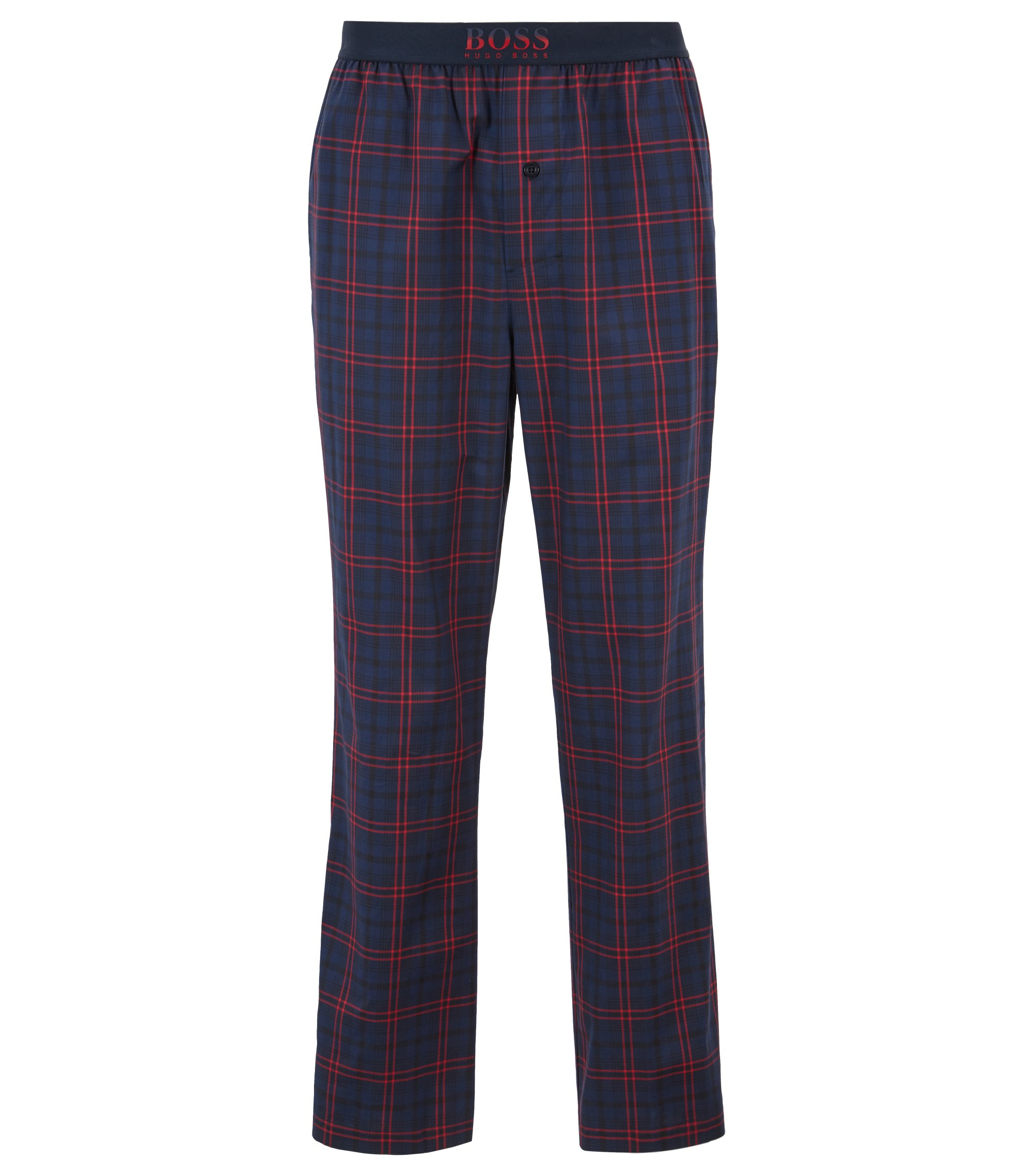 Karierte Pyjama-Hose aus Baumwoll-Twill, Dunkelblau