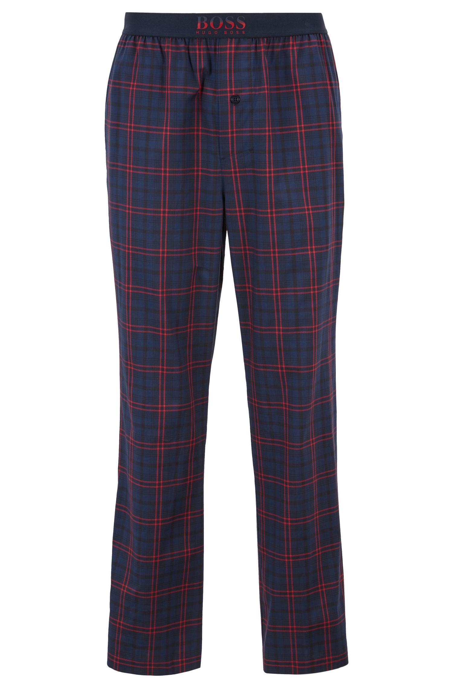 Pantalones de pijama en sarga de algodón a cuadros, Azul oscuro