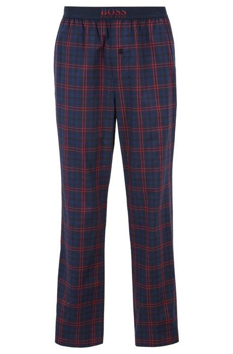 92fa14b9 Checked pyjama trousers in cotton twill, Dark Blue
