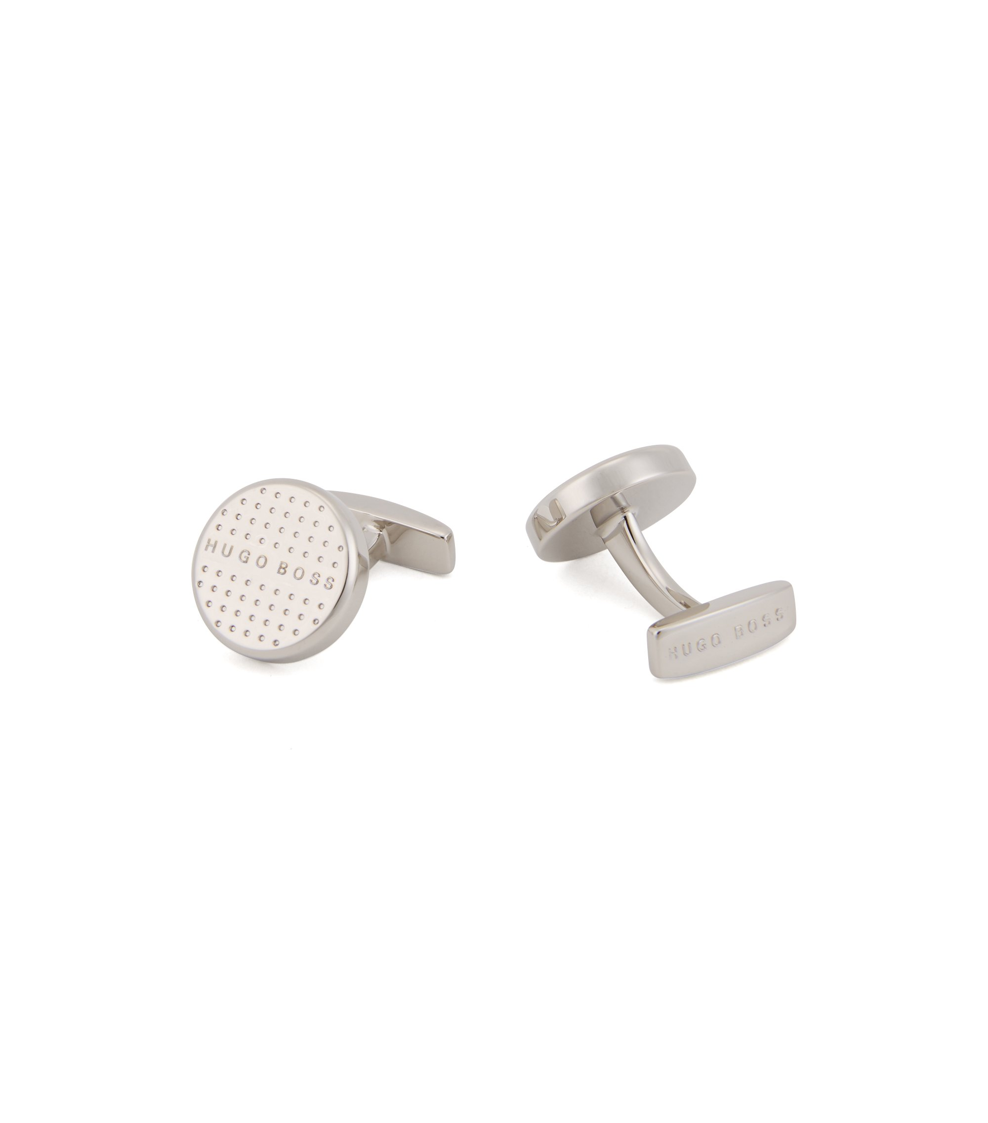 Hand-polished brass cufflinks with engraved polka dots, Silver