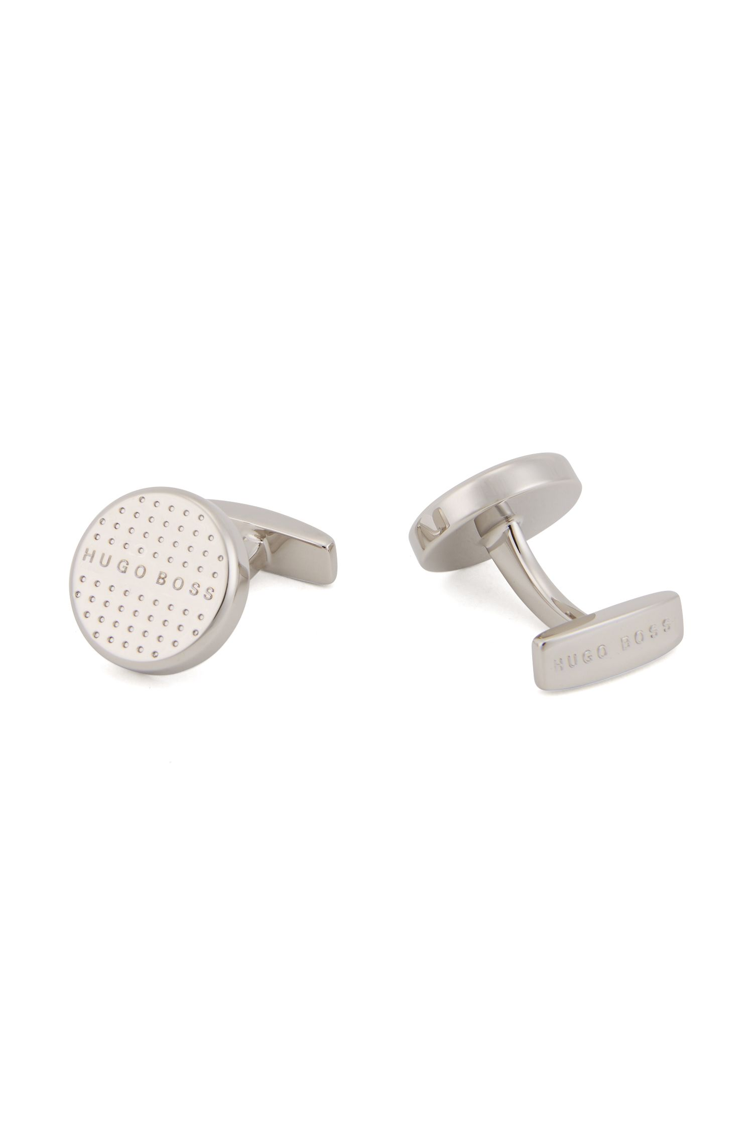 Hand-polished brass cufflinks with engraved polka dots