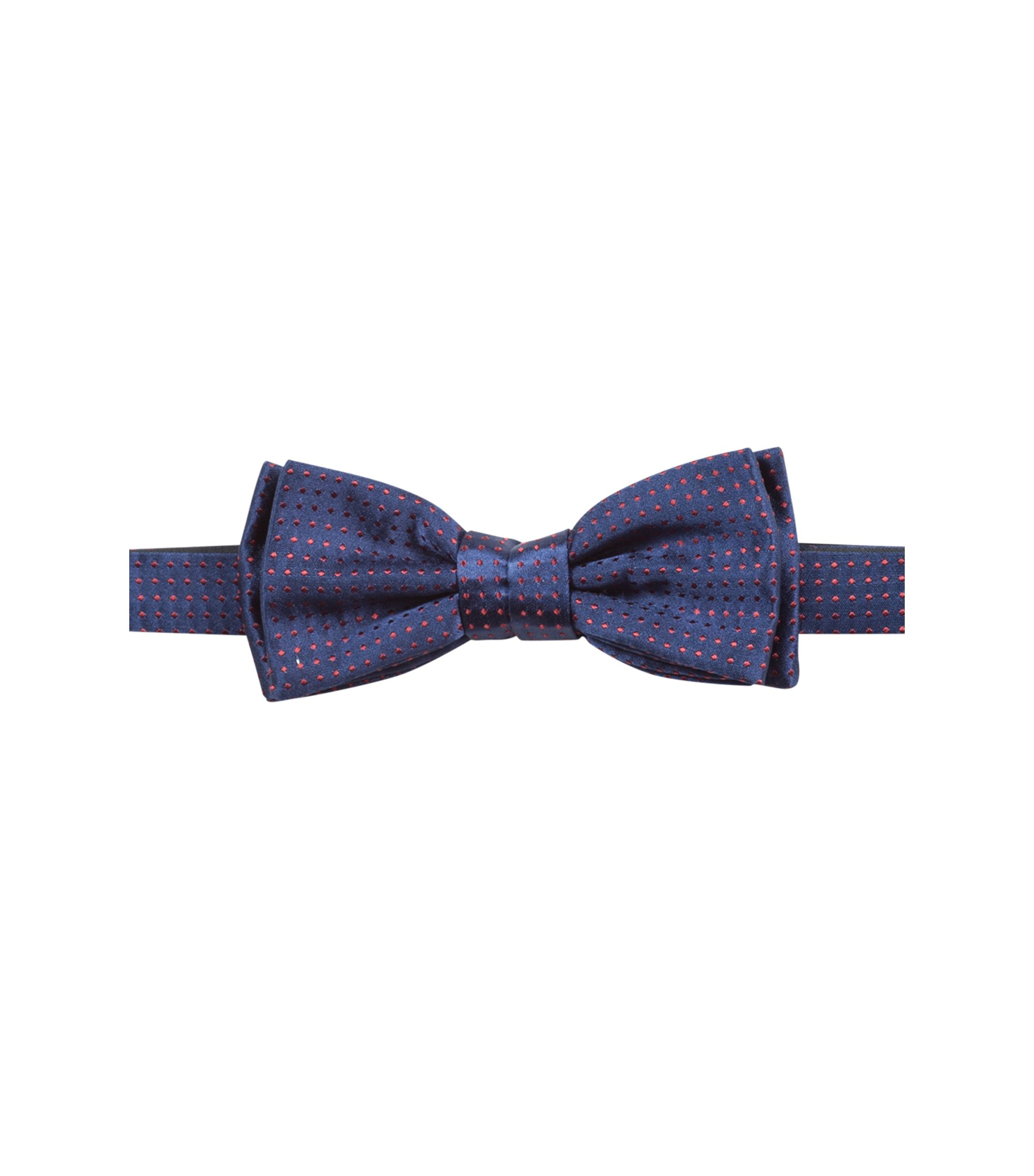 Dotted bow tie in silk jacquard, Dark Blue