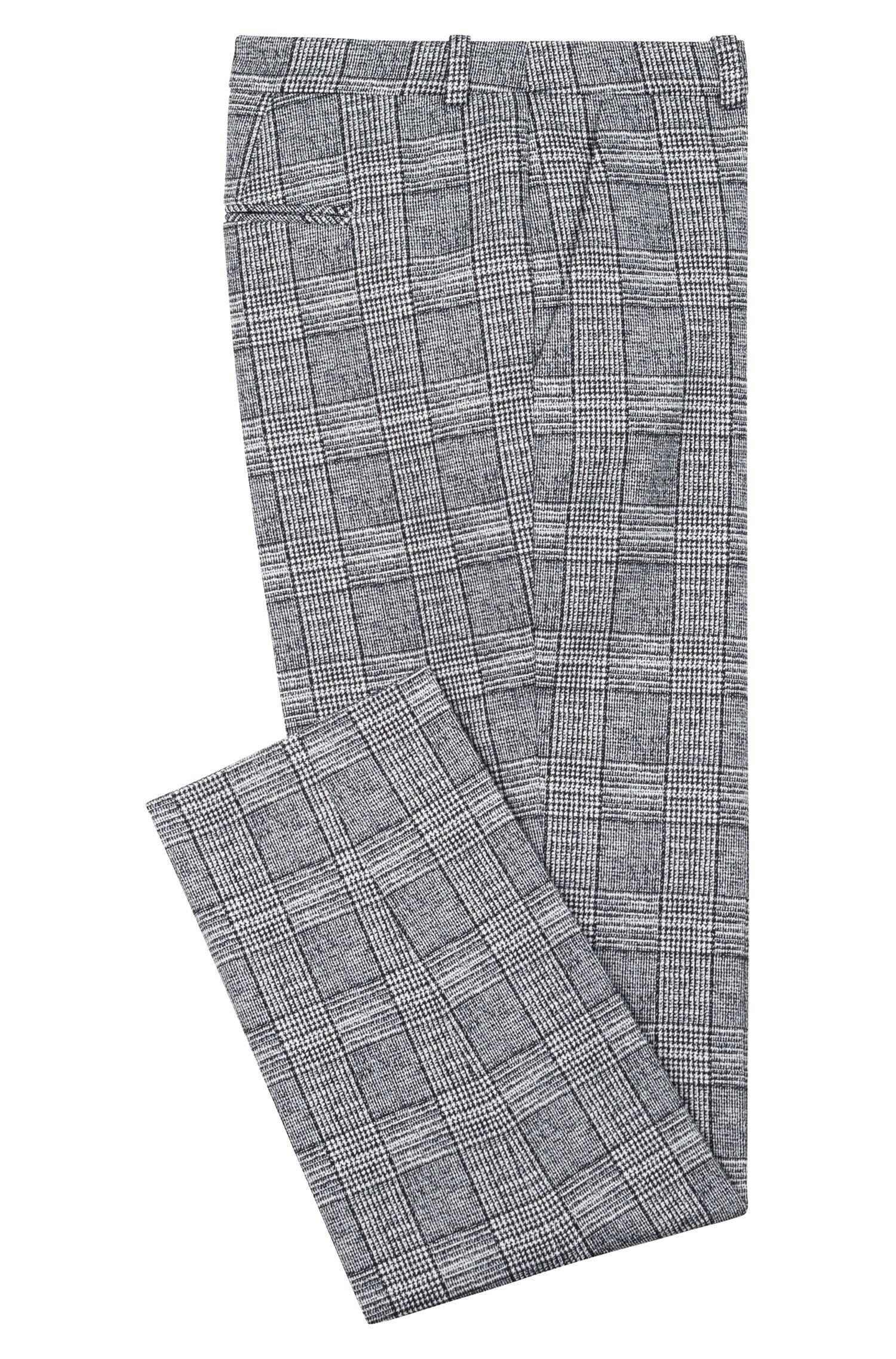 Cropped cigarette pants in een zwart/witte ruit, Bedrukt