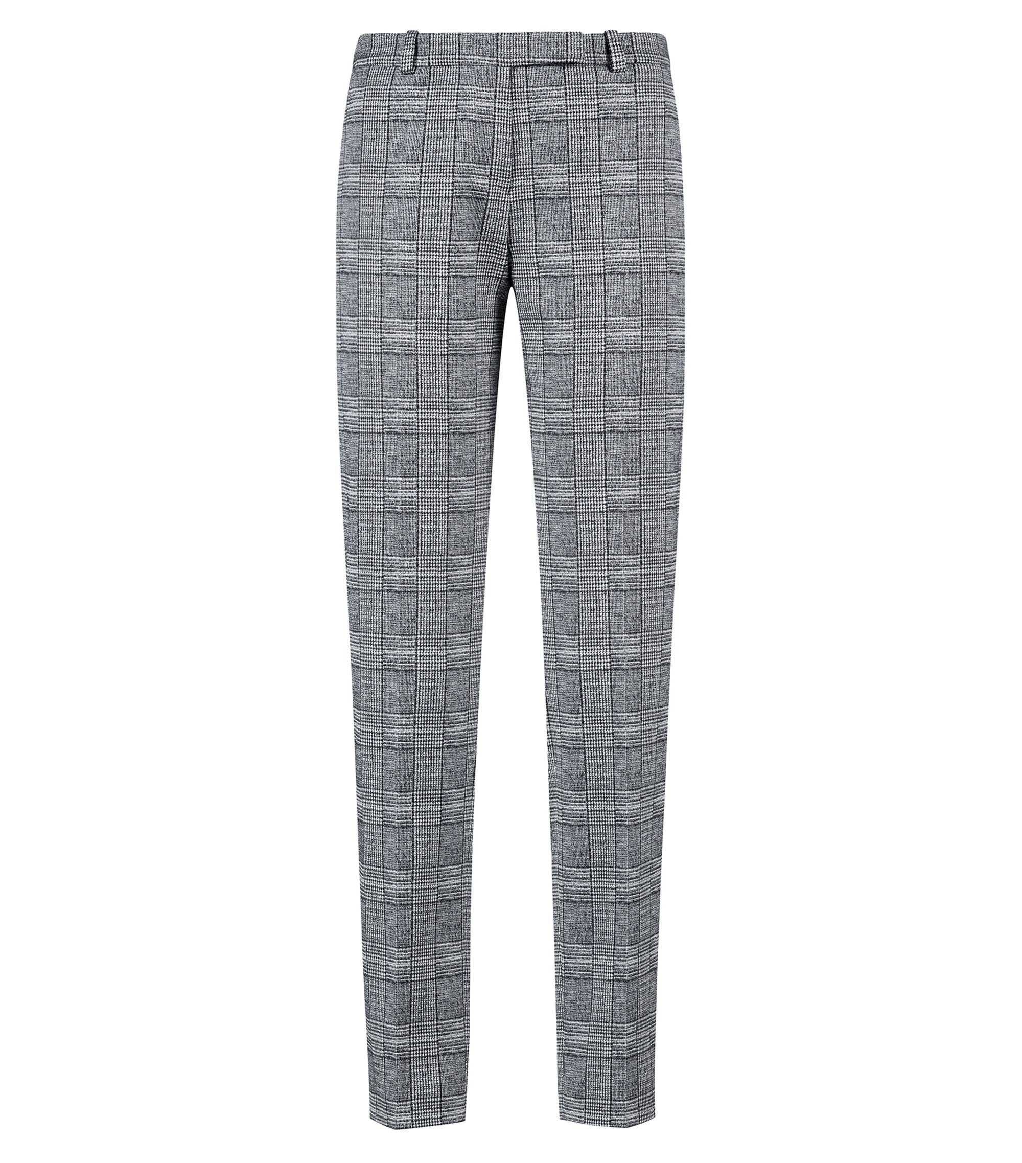 Cropped cigarette trousers in black-and-white check, Patterned