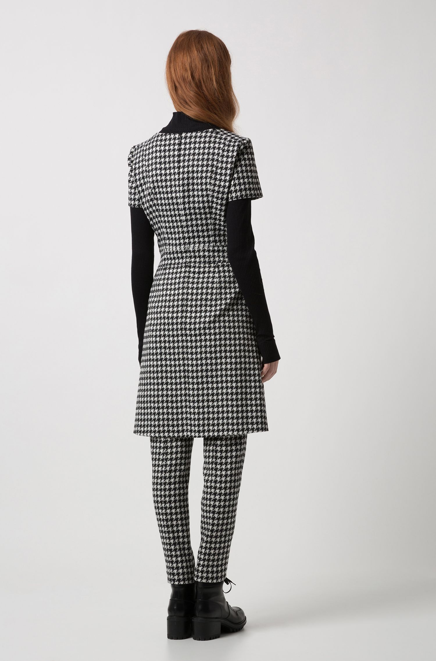 Houndstooth A-line dress in a stretch-cotton blend, Patterned