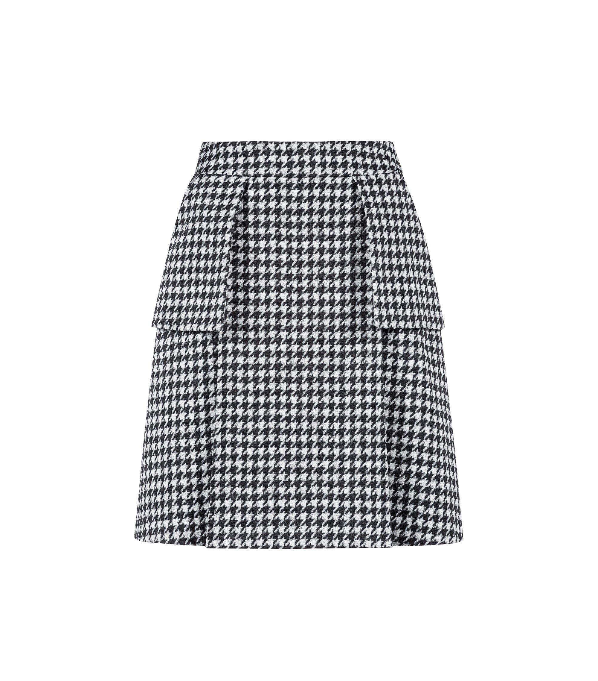 Minirock mit Hahnentritt-Muster und aufgenähten Taschen, Gemustert