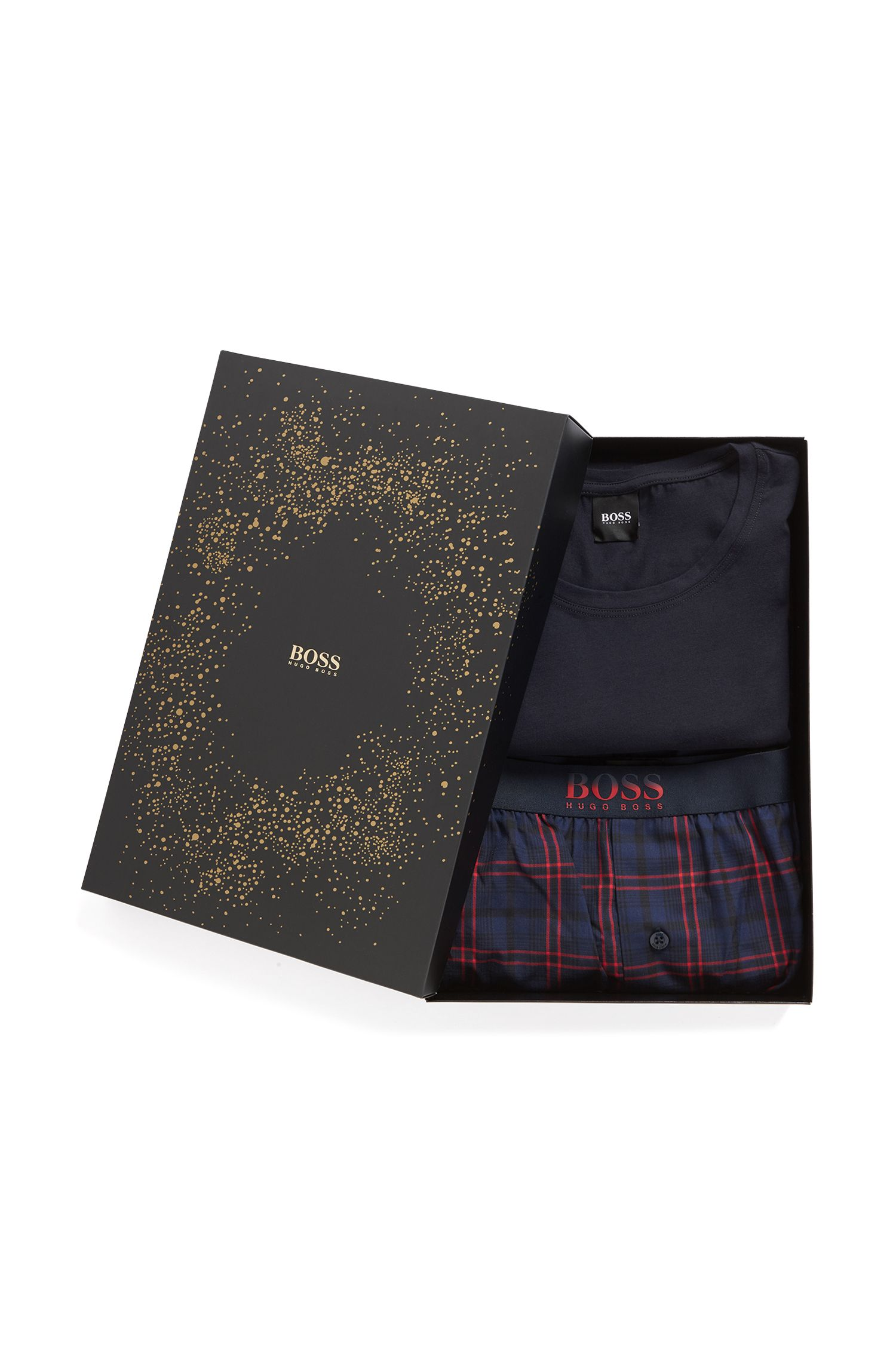 Gift-boxed pyjama set in cotton with check pattern, Dark Blue