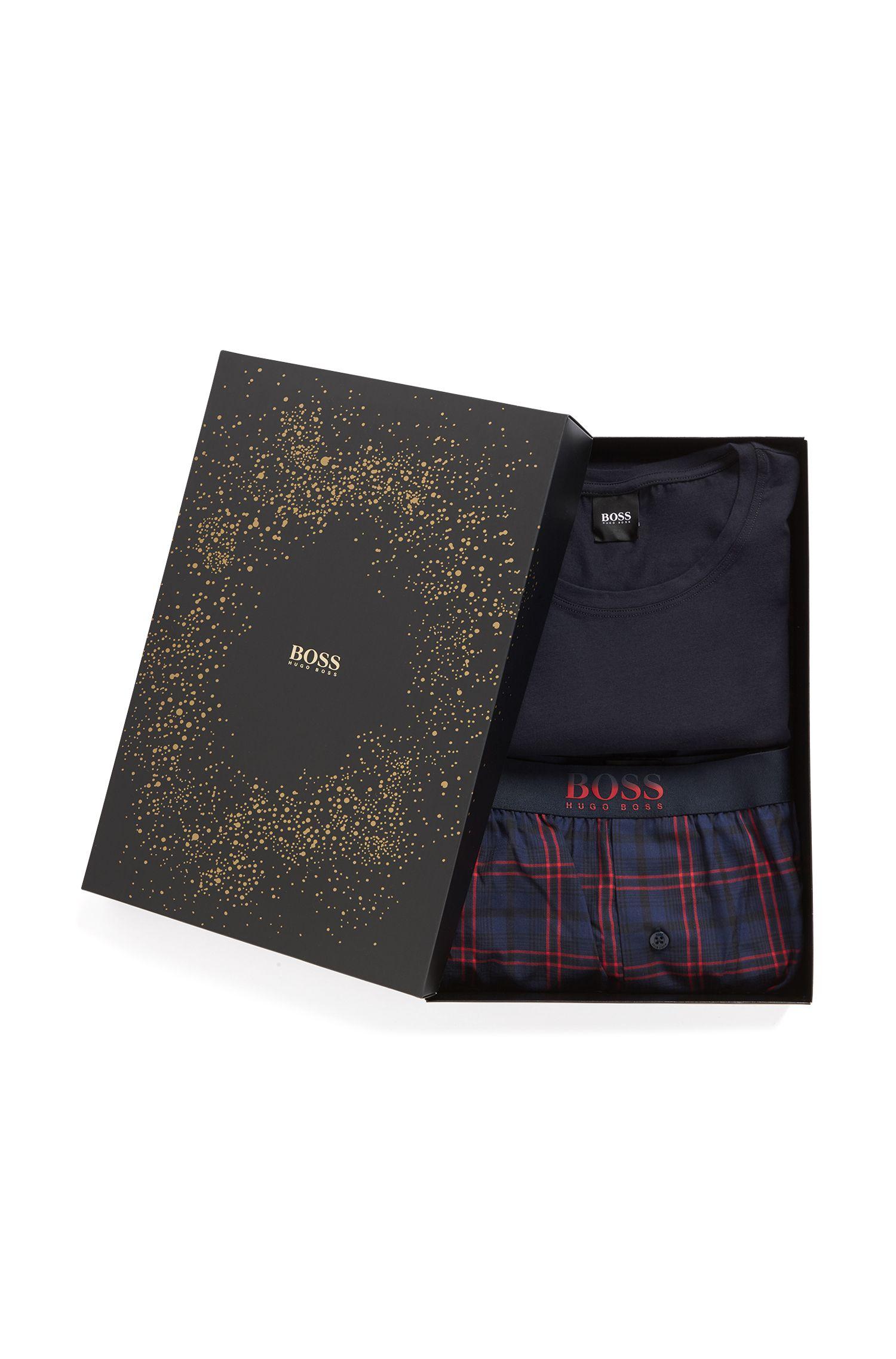 Pyjamaset van katoen met ruitdessin, in cadeaubox, Donkerblauw