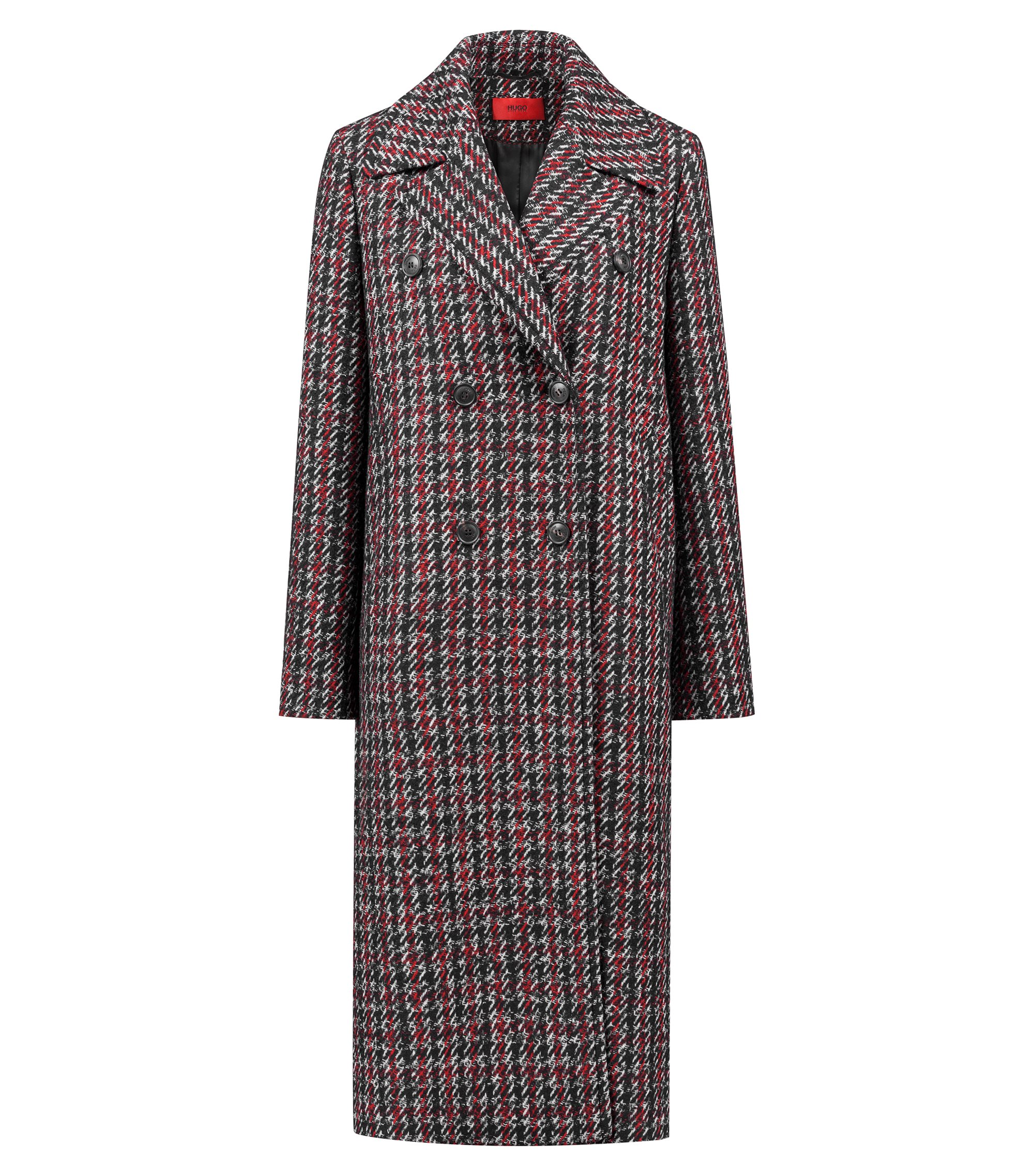 Relaxed-fit coat with all-over two-tone check, Patterned