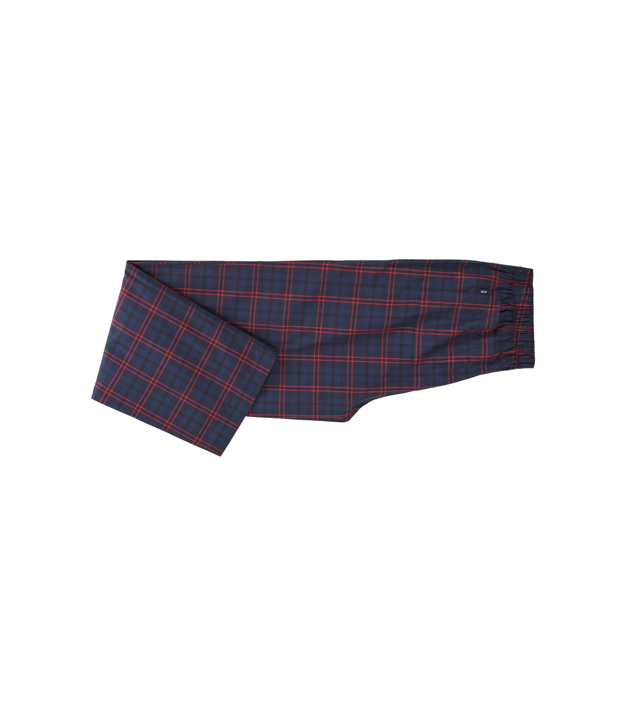Gift-boxed pyjama set in checked cotton twill, Dark Blue