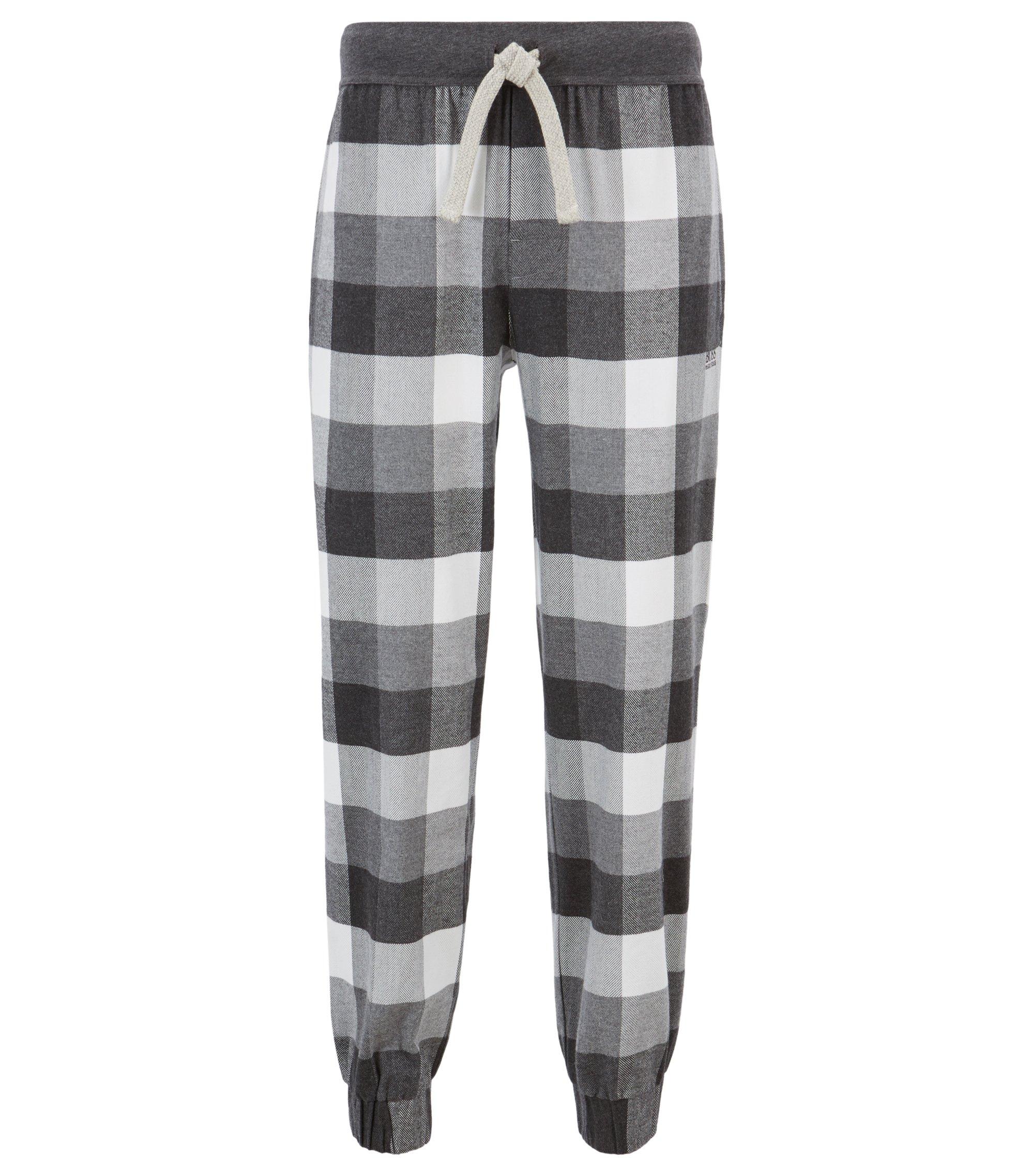 Pyjama-Hose aus weich angerautem Flanell mit kontrastfarbenem Tunnelzug, Grau