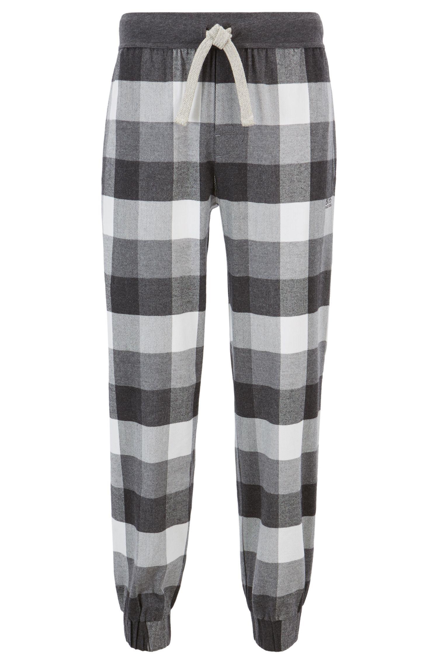 Pantalones de pijama en franela cepillada con cordón en contraste, Gris