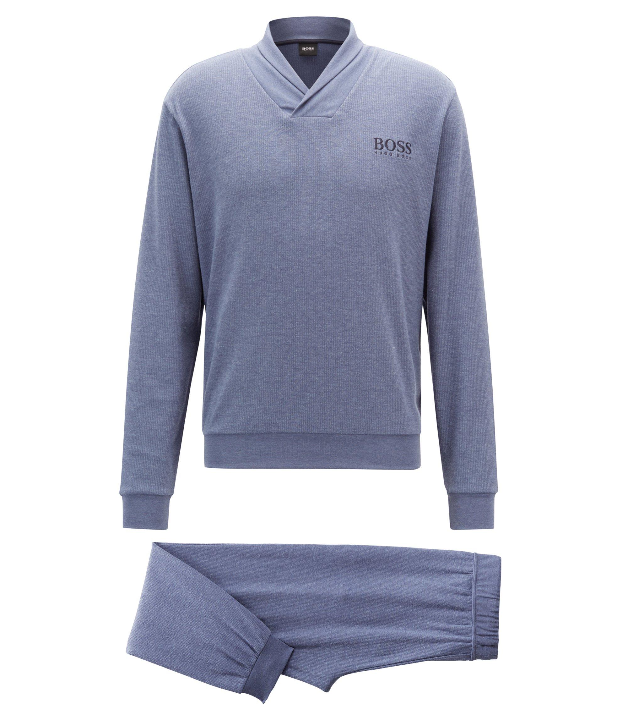 Ensemble de pyjama en tissu chiné double face, en coffret cadeau, Bleu