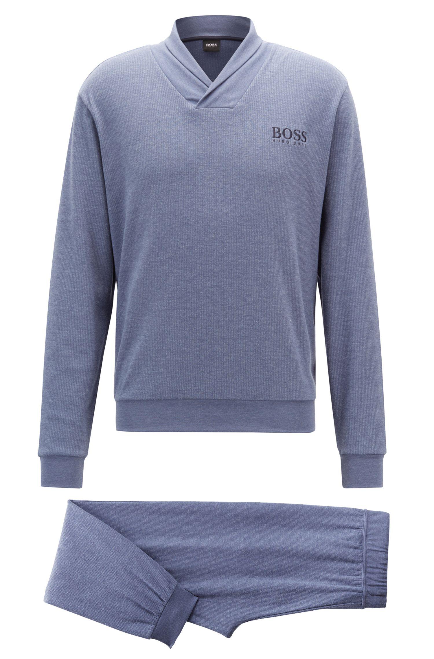 Pyjama aus zweiseitigem meliertem Gewebe in einer Geschenk-Box, Blau