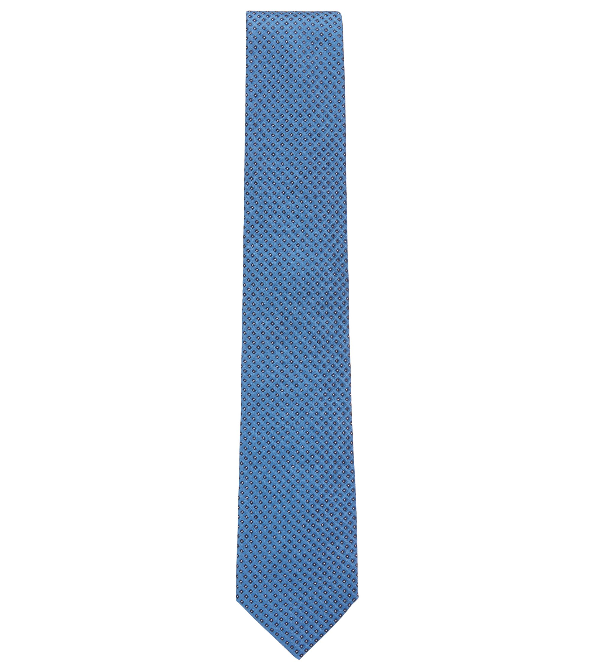 Silk tie in a micro-square jacquard, Blue