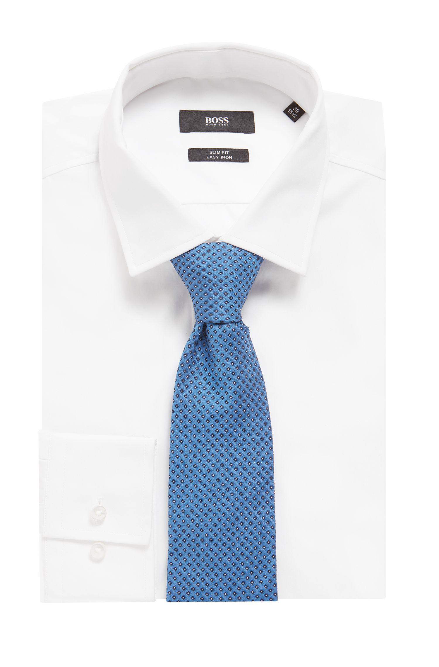Silk tie in a micro-square jacquard, Blue