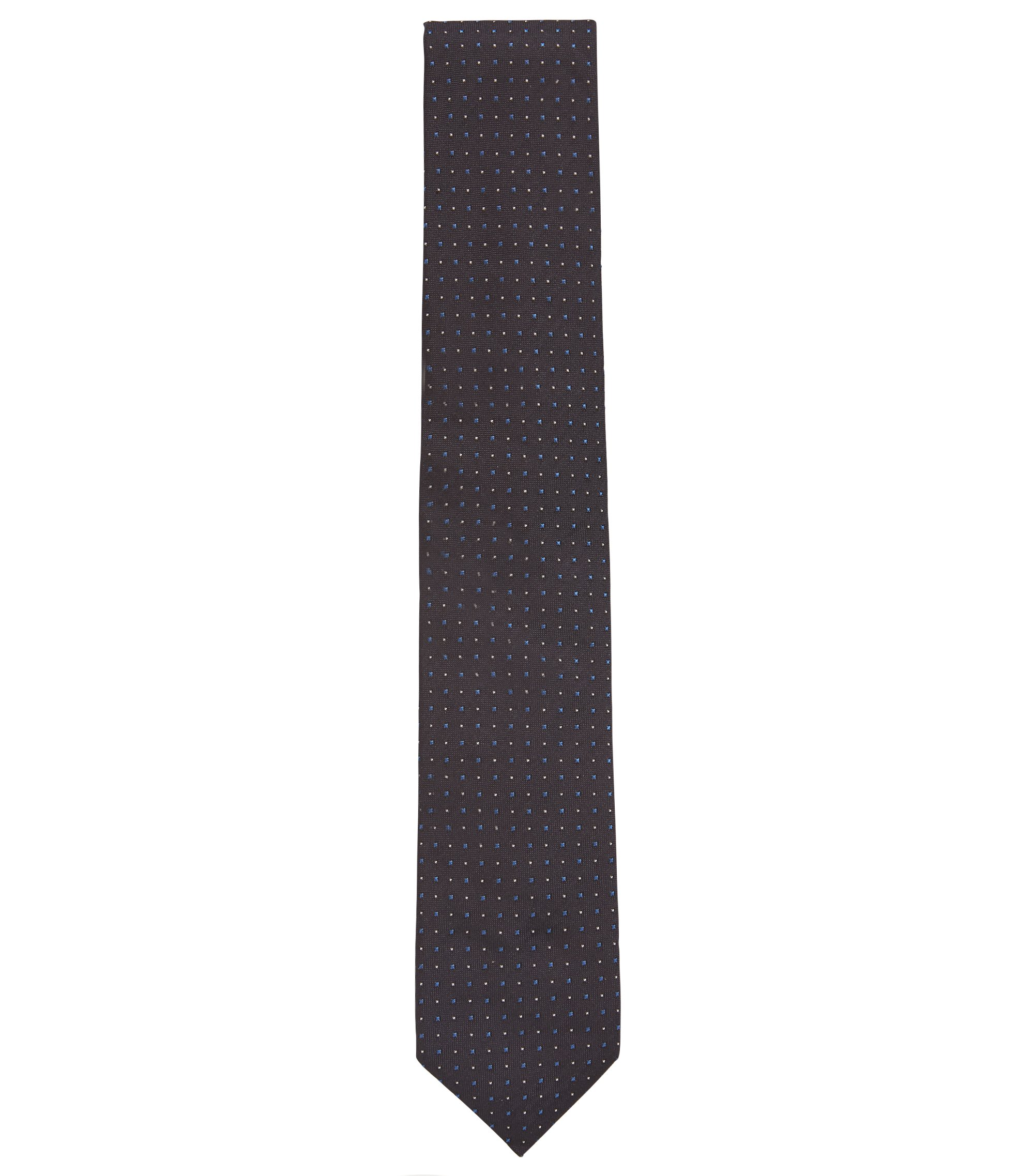 Silk tie in a micro-square jacquard, Open Blue