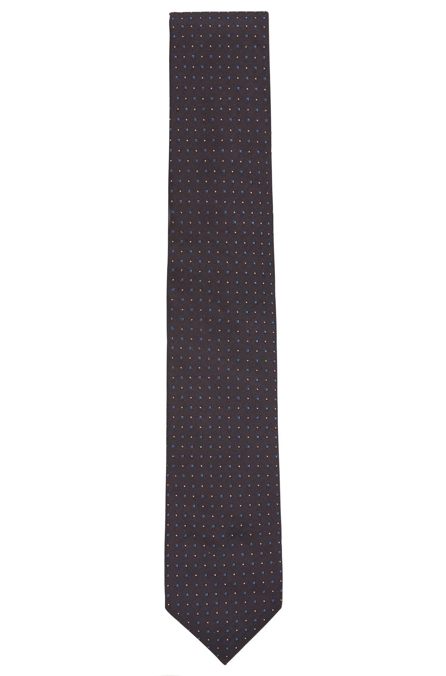 Zijden stropdas in een jacquard met microruitdessin, Lichtblauw