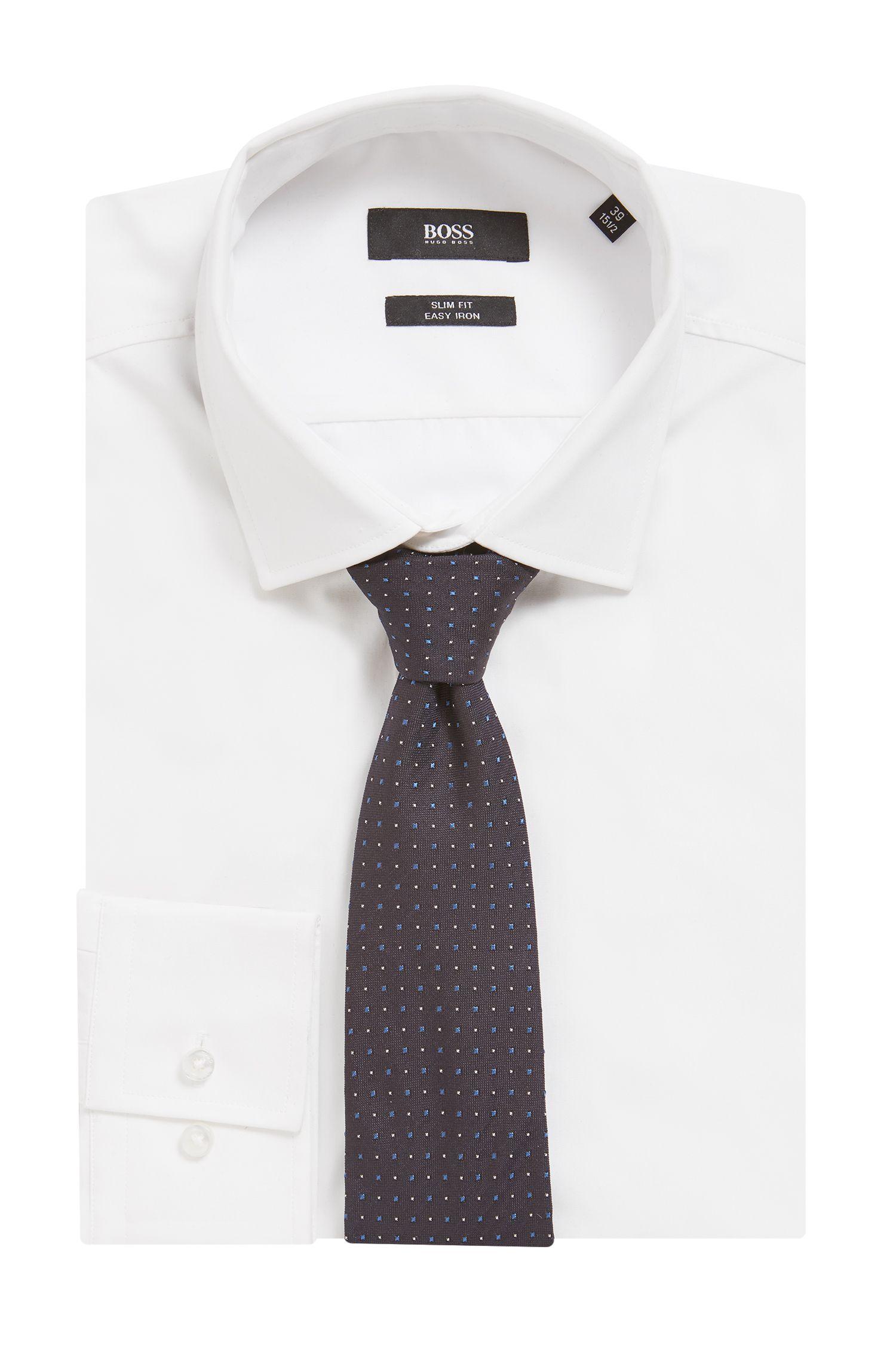 Silk tie in a micro-square jacquard, Open Blue