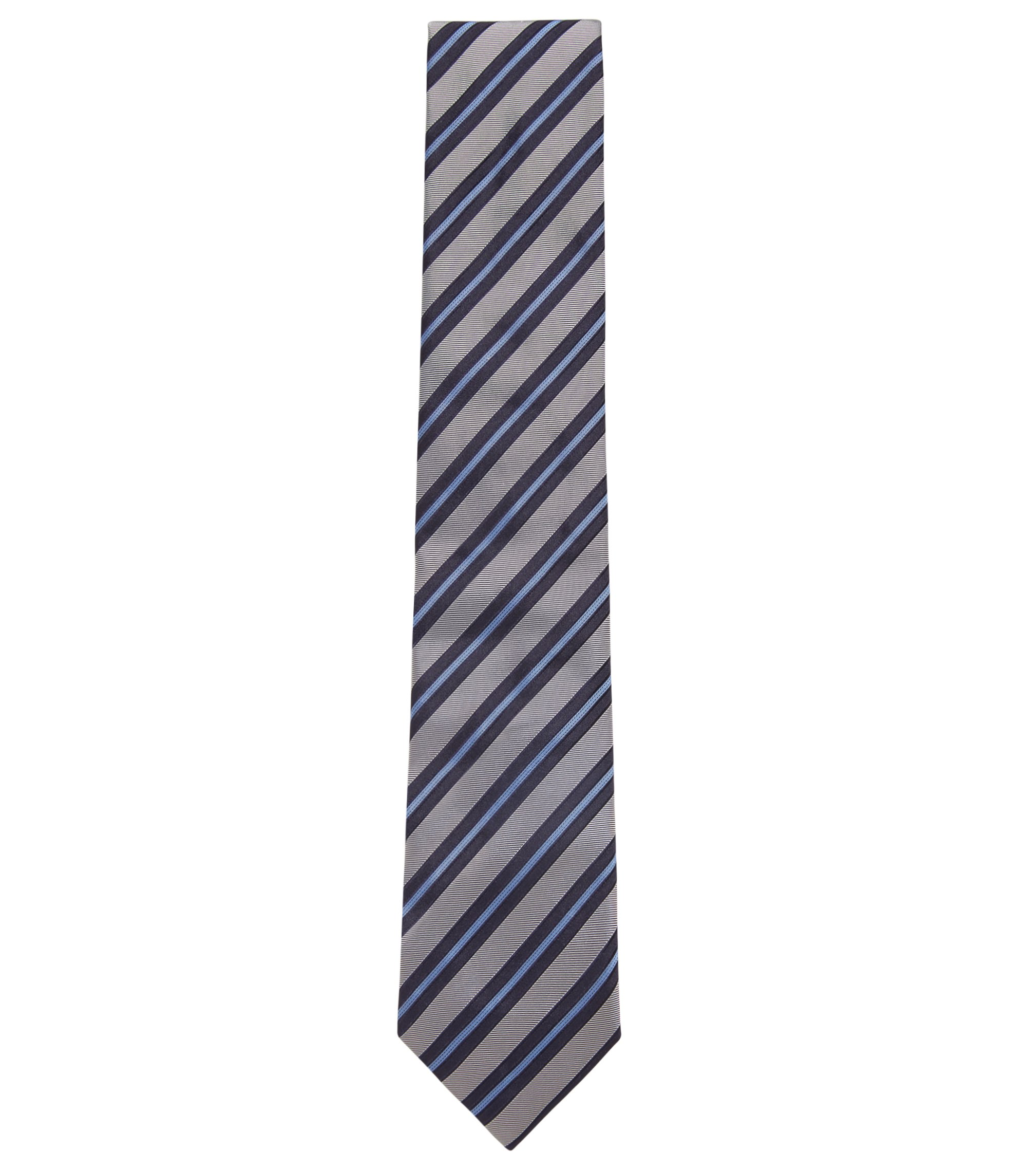 Italian-made tie in diagonal-striped silk jacquard, Open Blue
