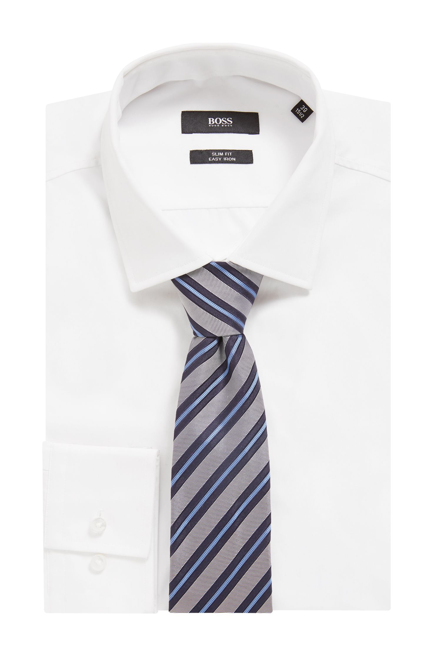 Italian-made tie in diagonal-striped silk jacquard