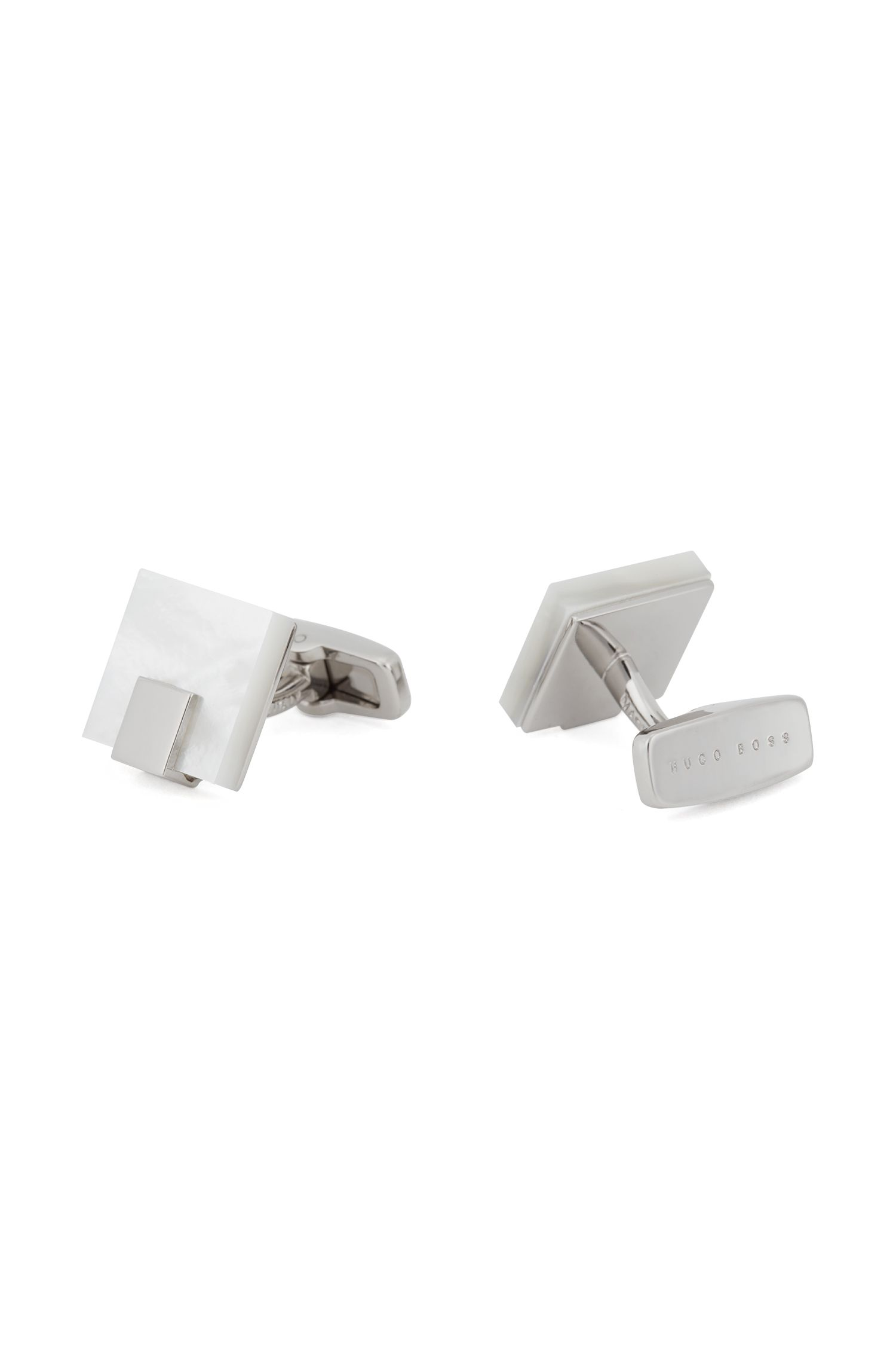 Square mother-of-pearl cufflinks with metal trim, White