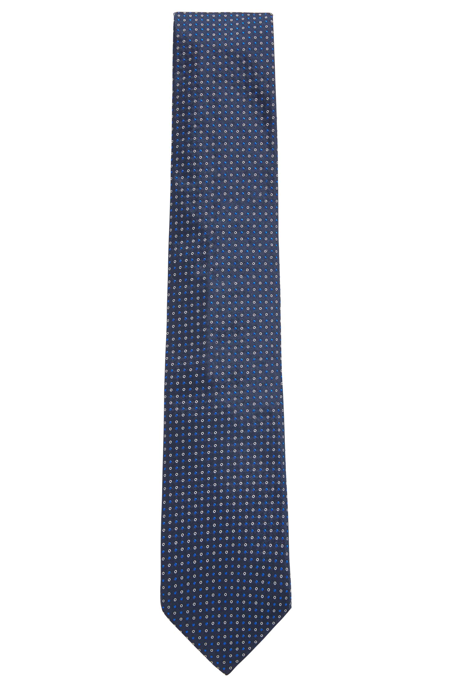 Italian-made silk tie with two-colour dot motif, Open Blue
