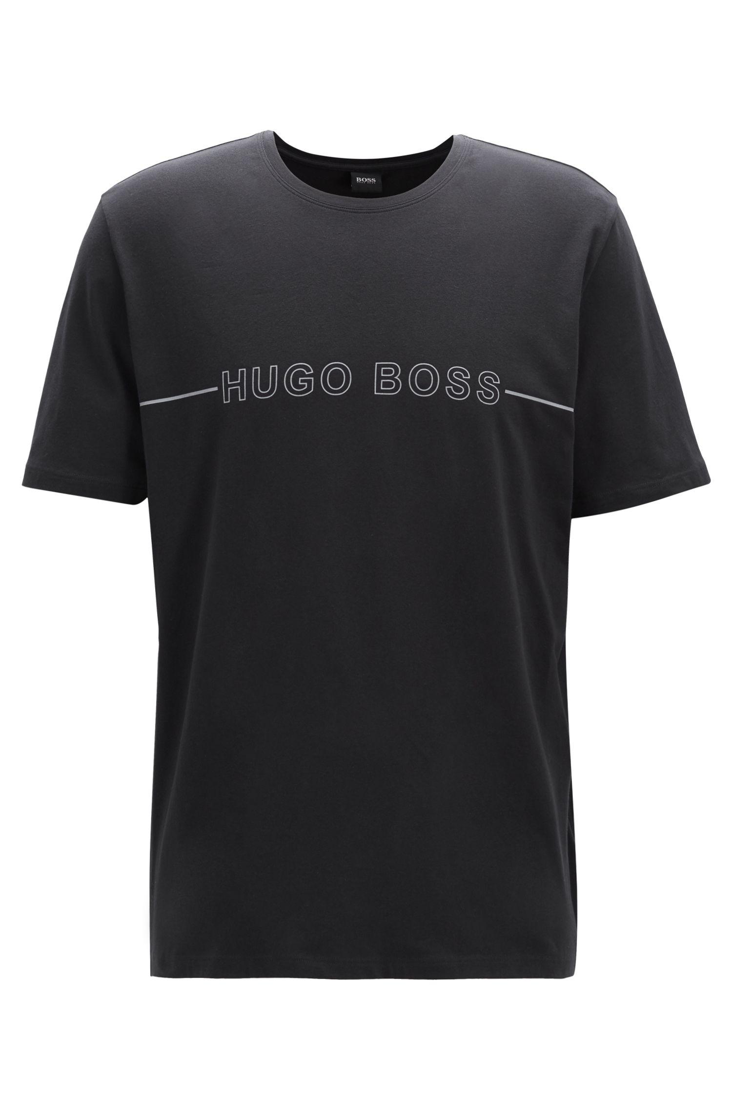 Camiseta de pijama en punto de algodón elástico con logo, Negro