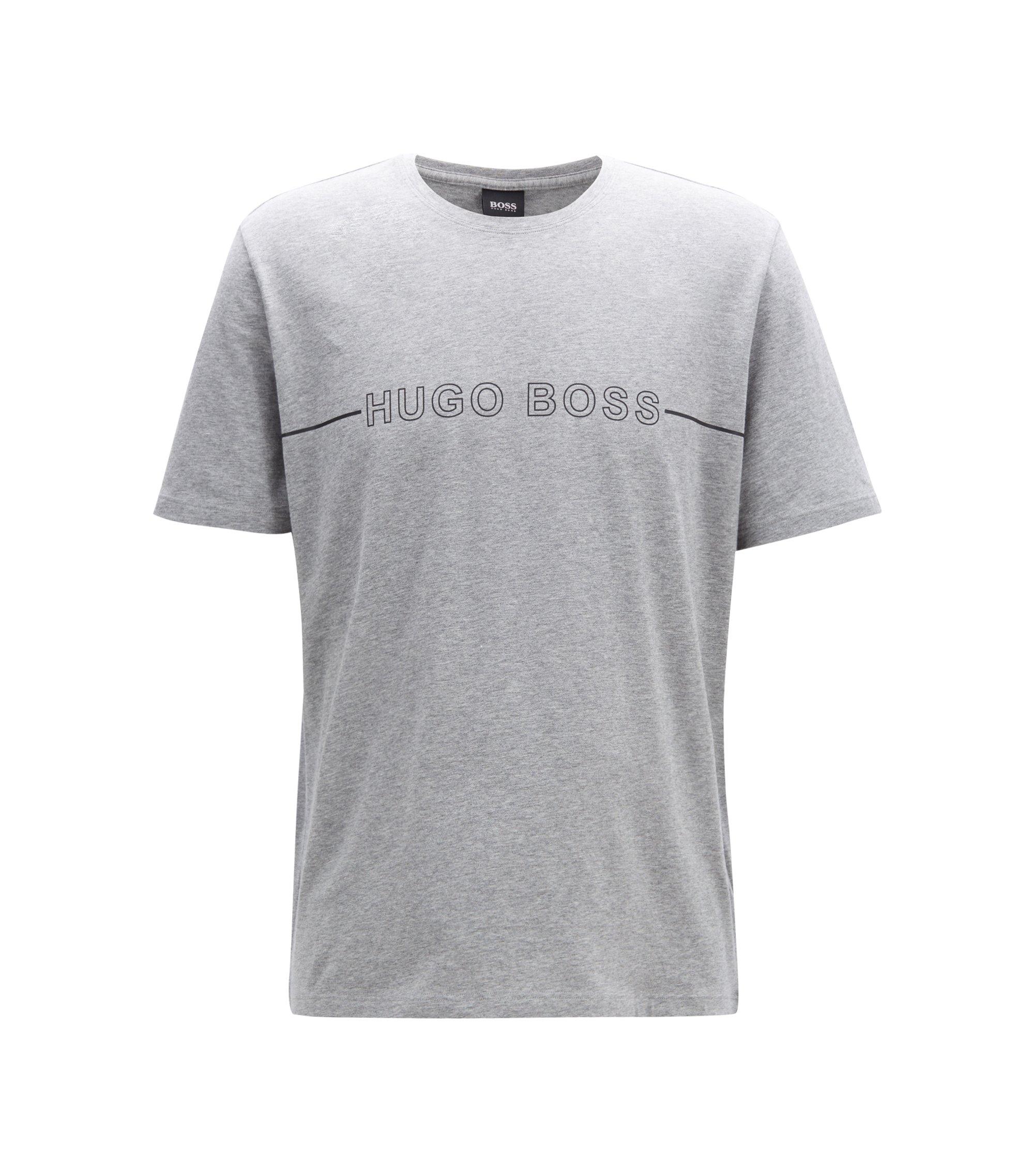 Pyjama-Shirt aus Stretch-Jersey mit Logo-Print, Grau