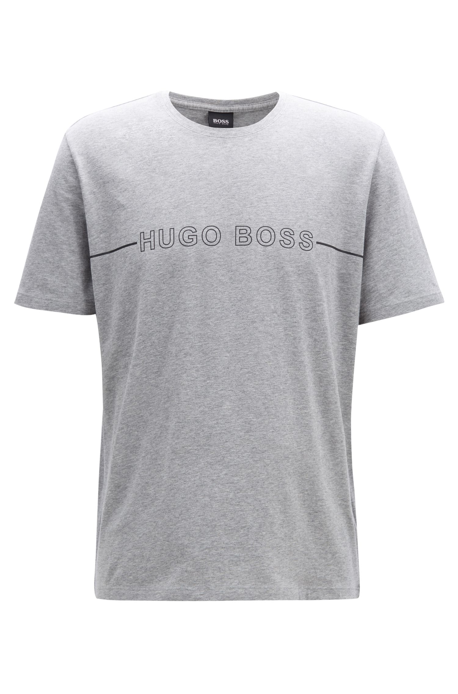 Logo pyjama T-shirt in stretch-cotton jersey, Grey