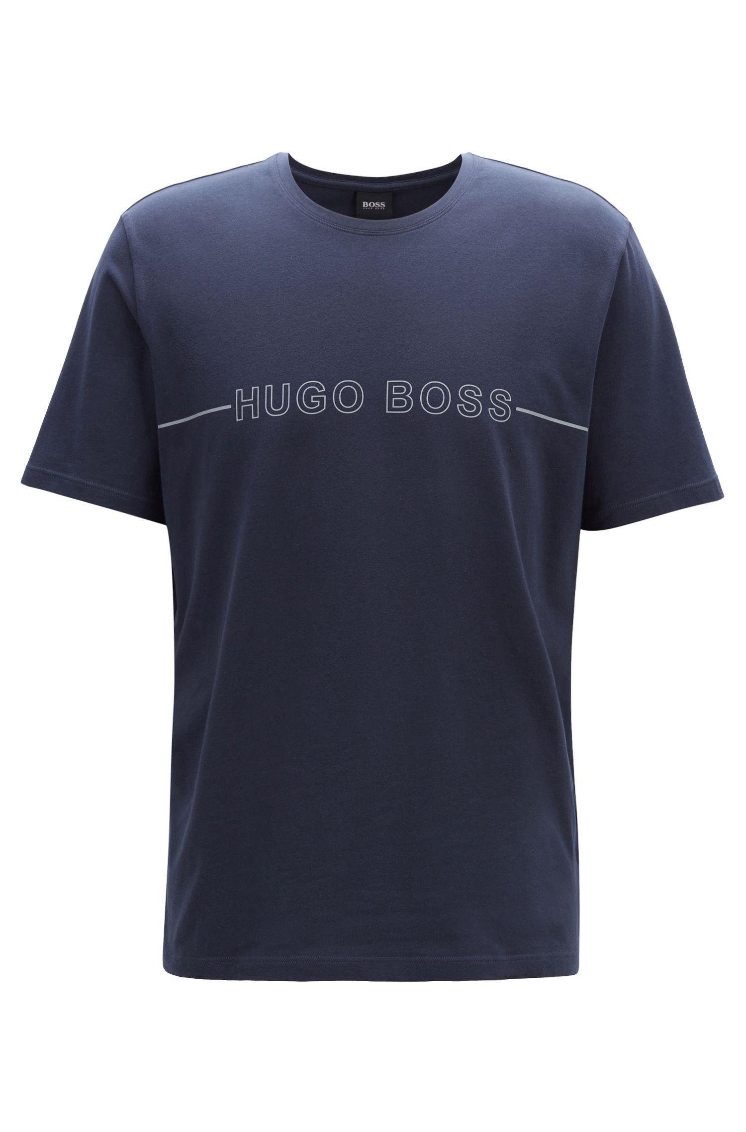T-shirt de pyjama en jersey de coton stretch à logo, Bleu foncé