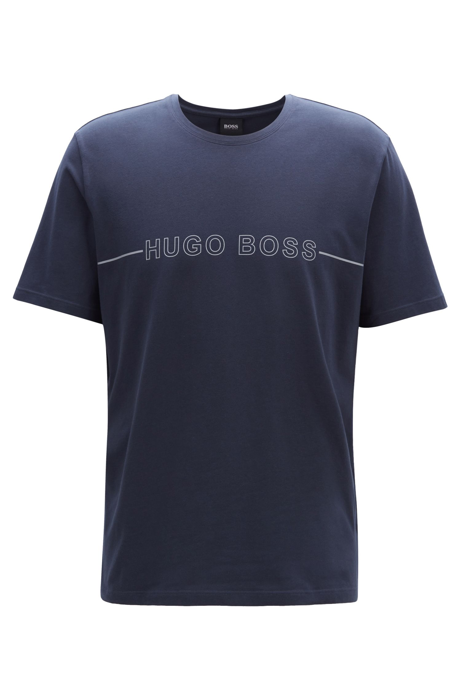 Camiseta de pijama en punto de algodón elástico con logo, Azul oscuro