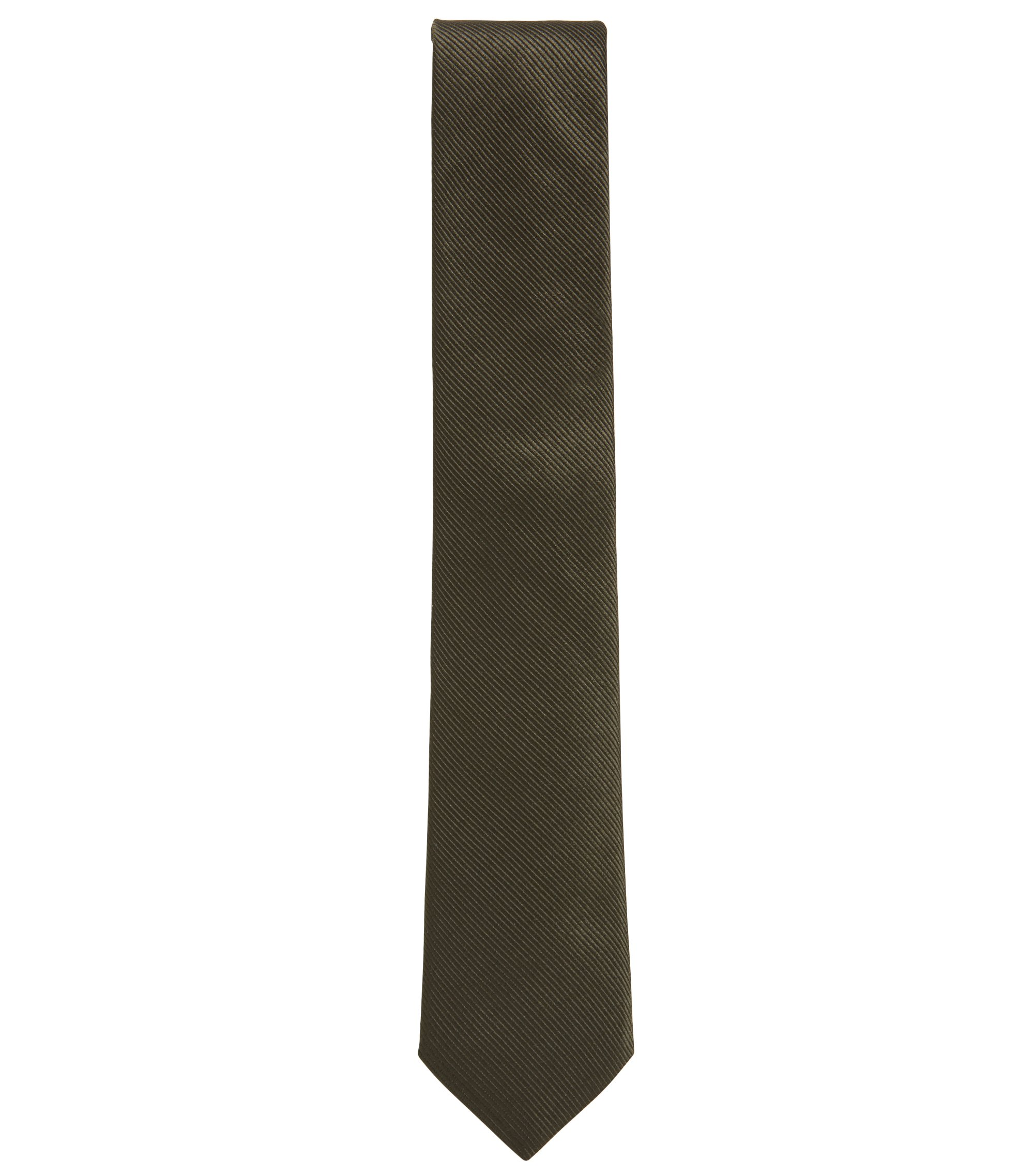 Silk tie with woven diagonal stripes, Dark Green