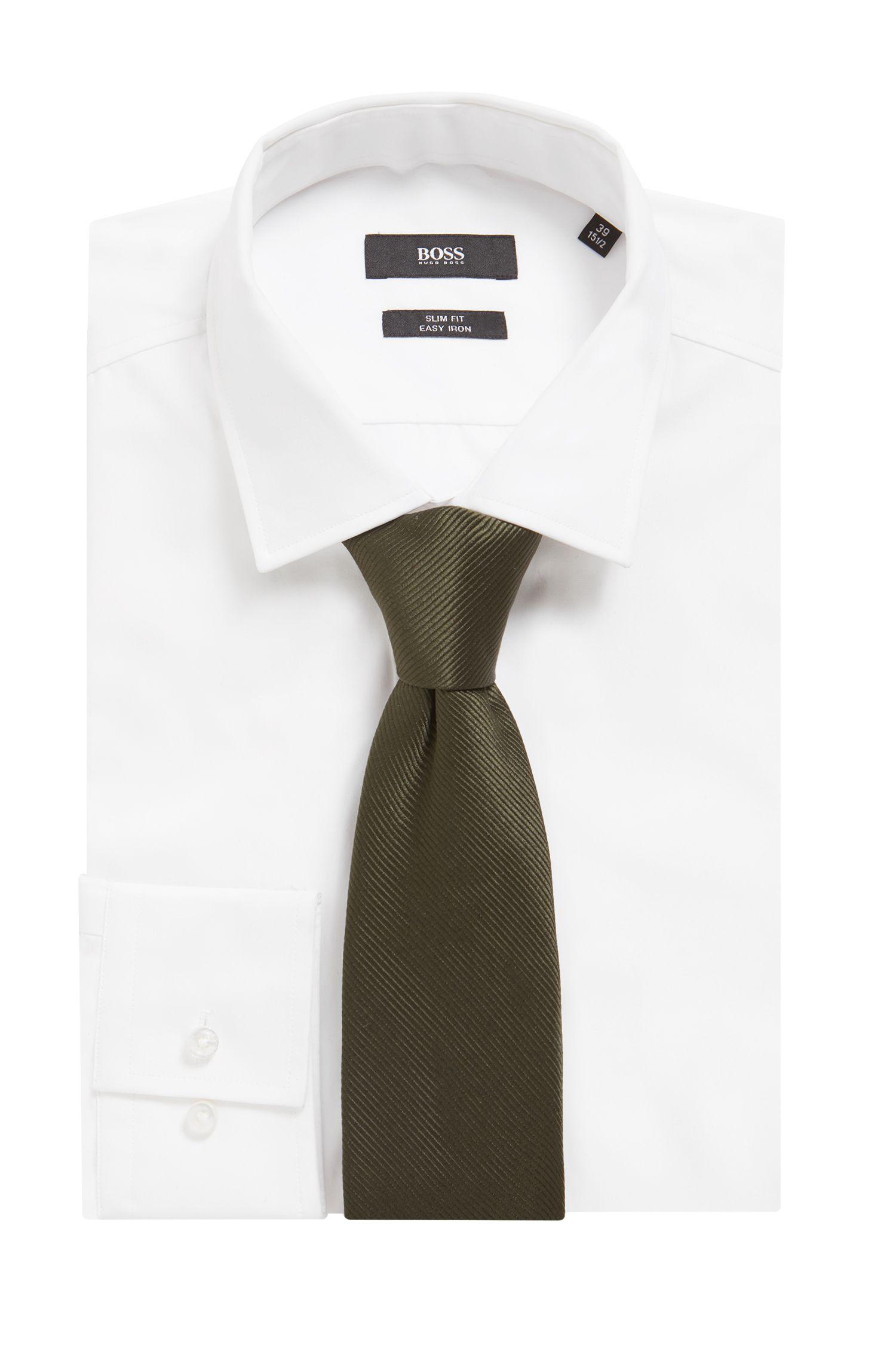 Cravate en soie à rayures tissées en diagonale, Vert sombre