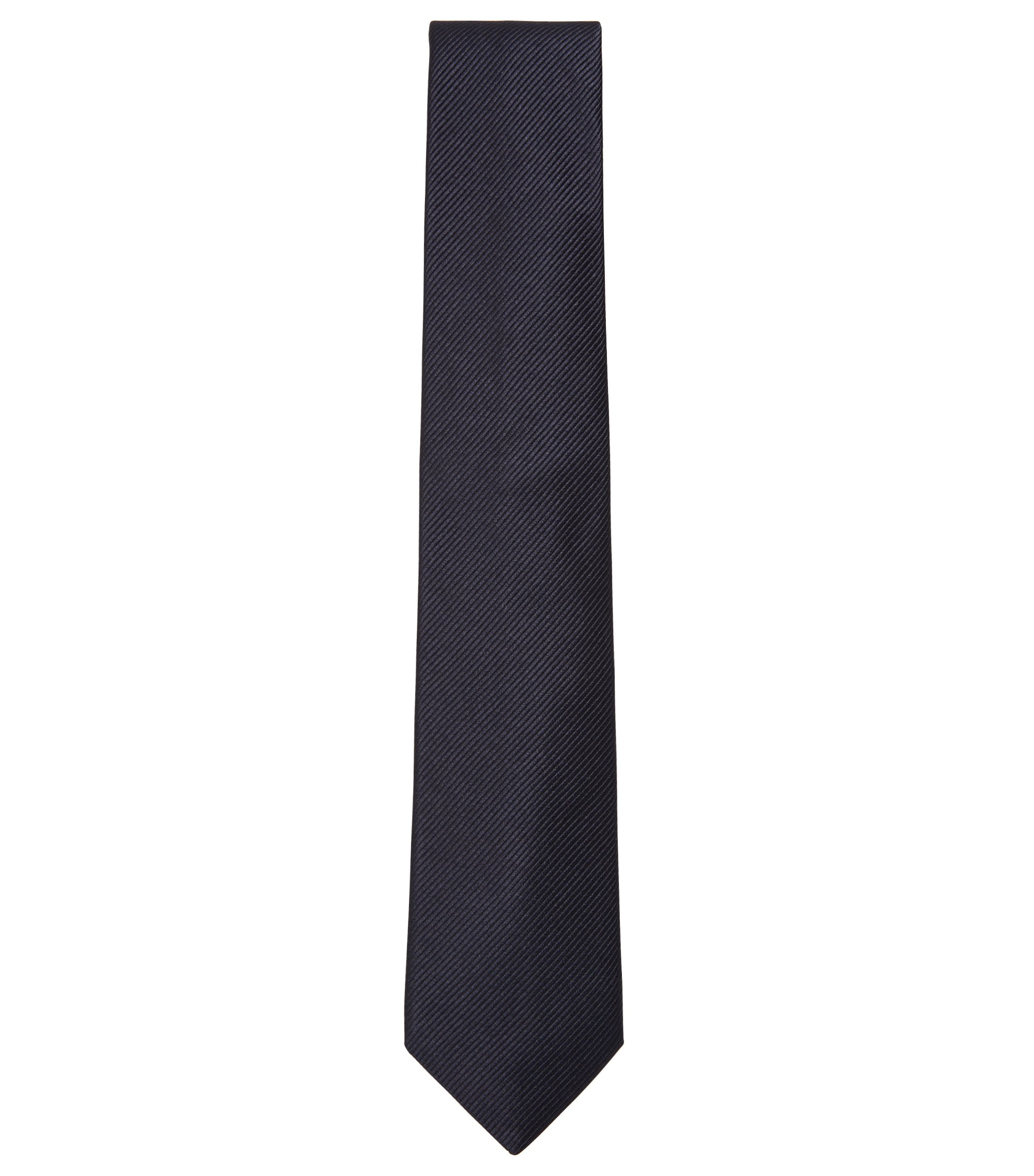 Silk tie with woven diagonal stripes, Dark Blue