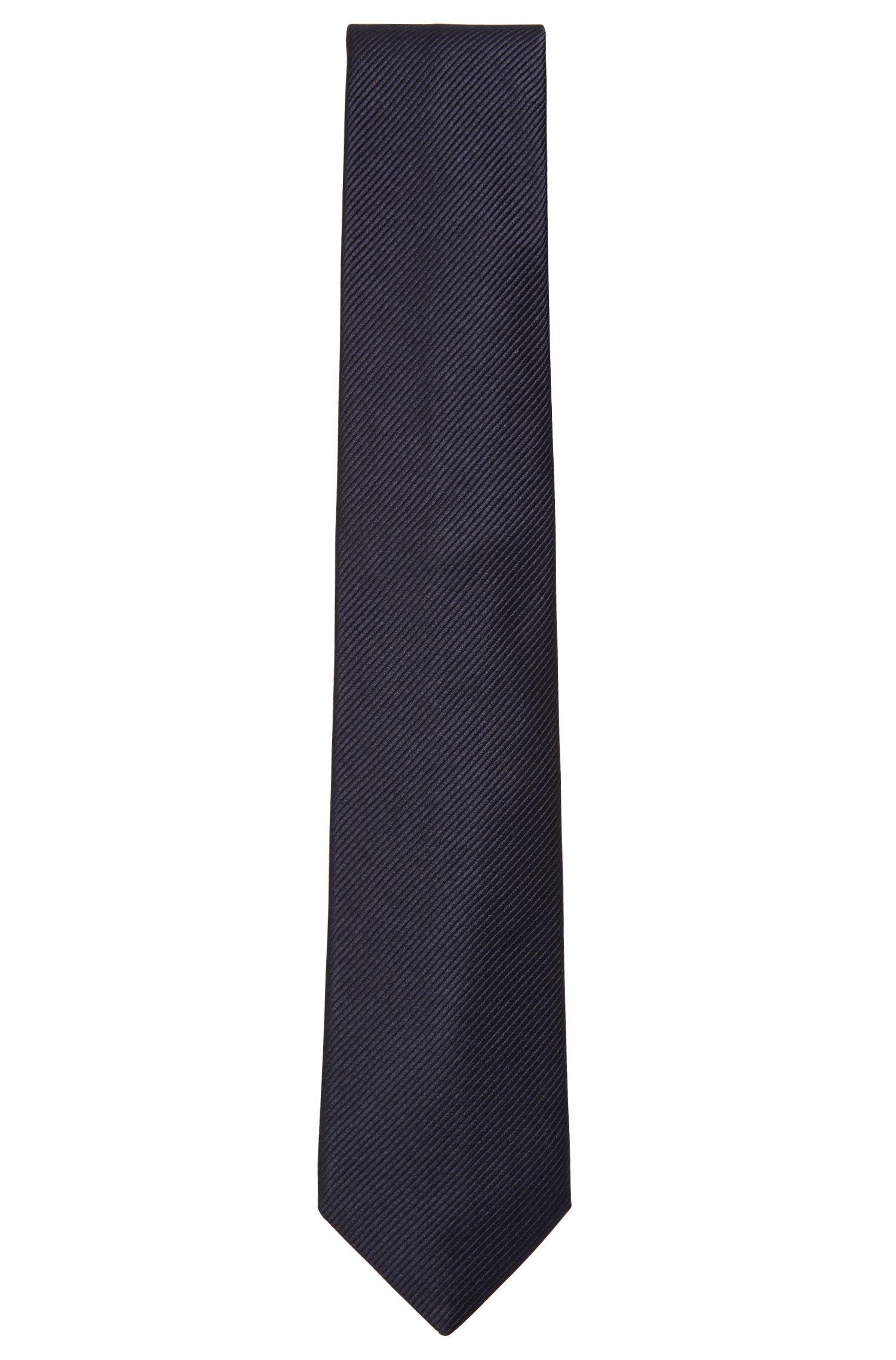 Cravate en soie à rayures tissées en diagonale, Bleu foncé