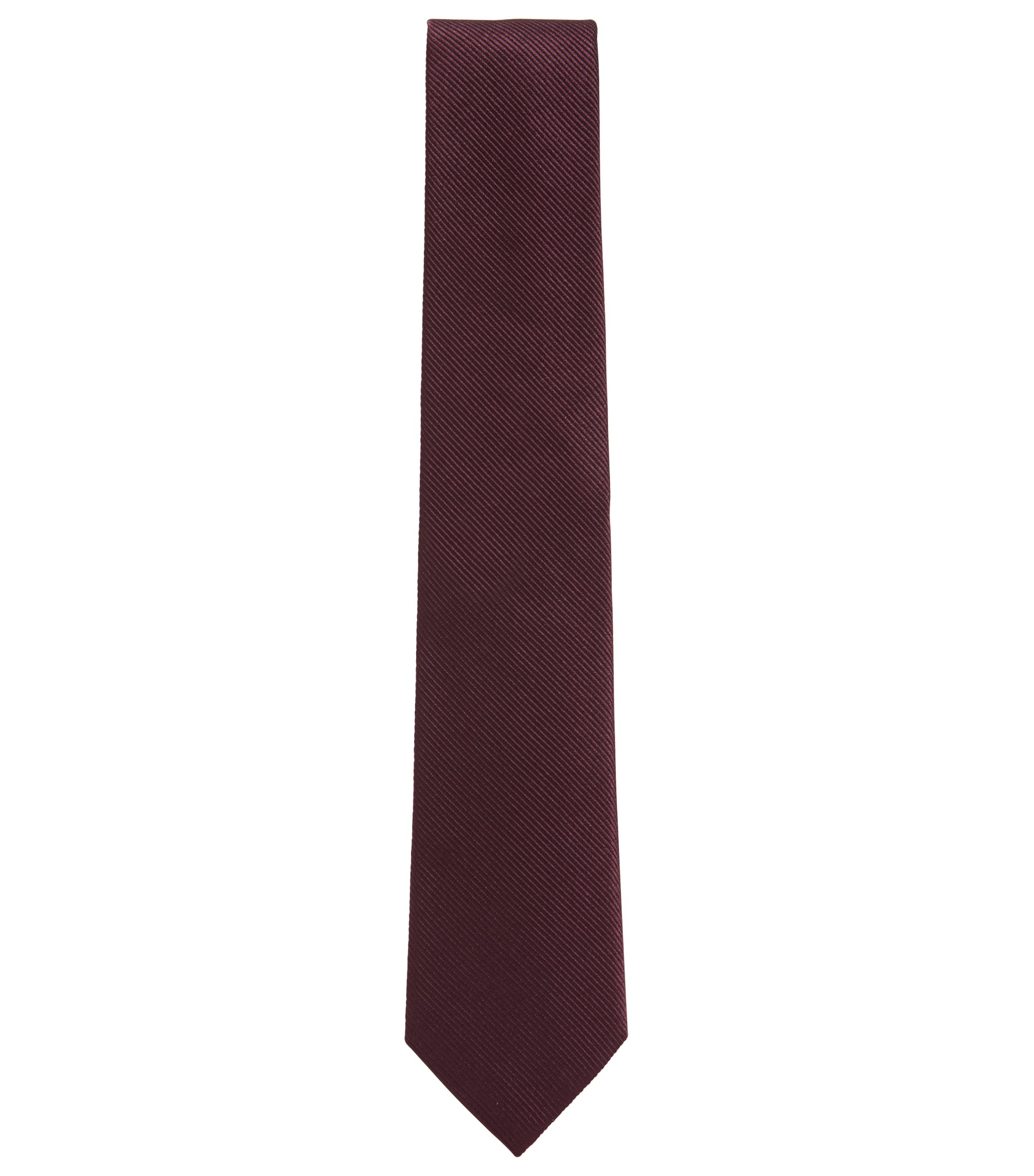 Silk tie with woven diagonal stripes, Dark Purple