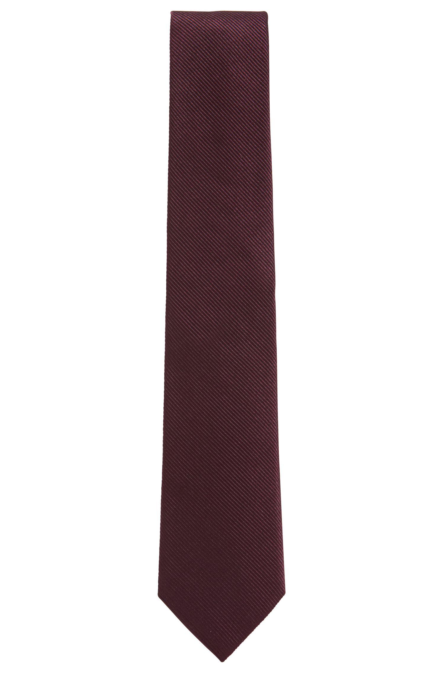 Cravatta in seta con trama a righe diagonali, Viola scuro