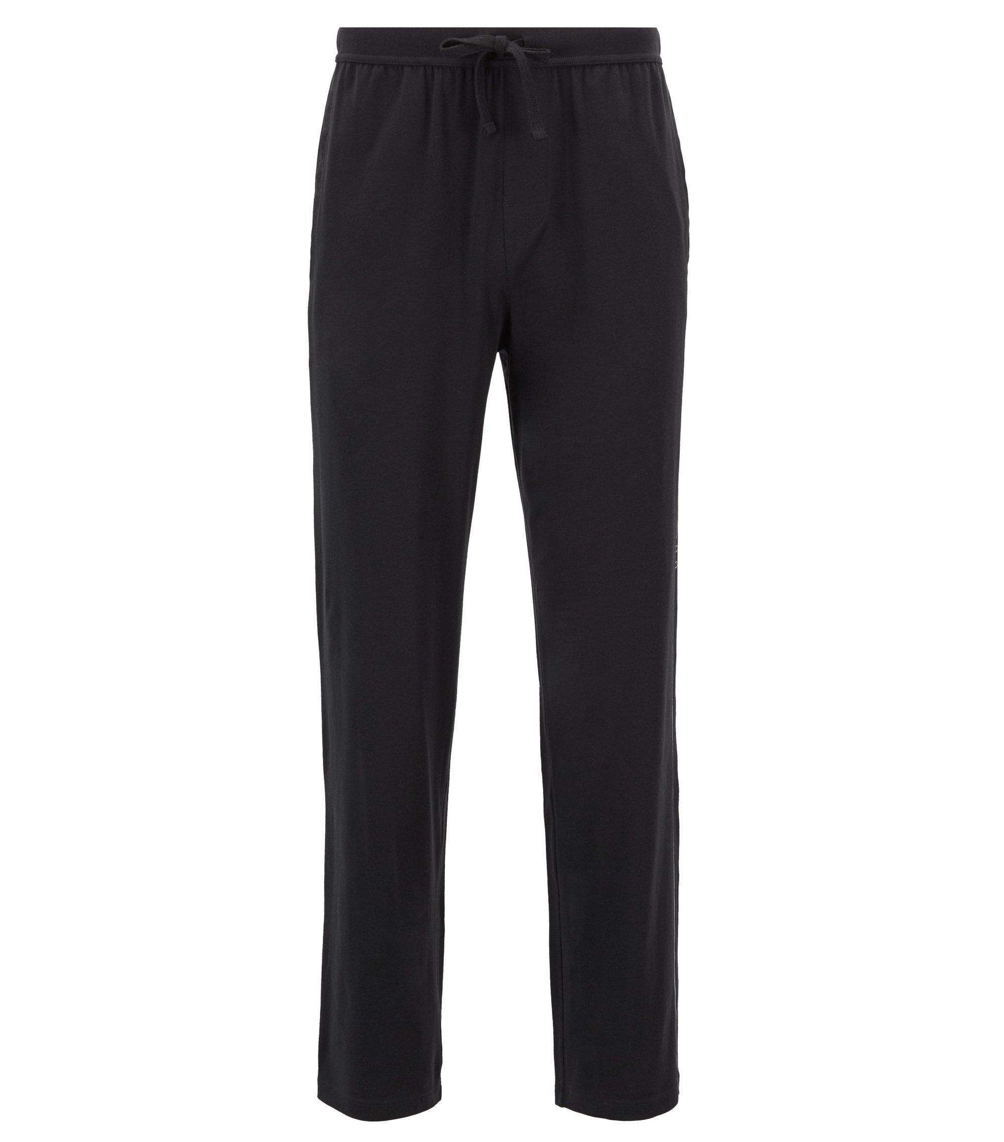 Bas de pyjama en jersey stretch à logo imprimé sur le côté, Noir