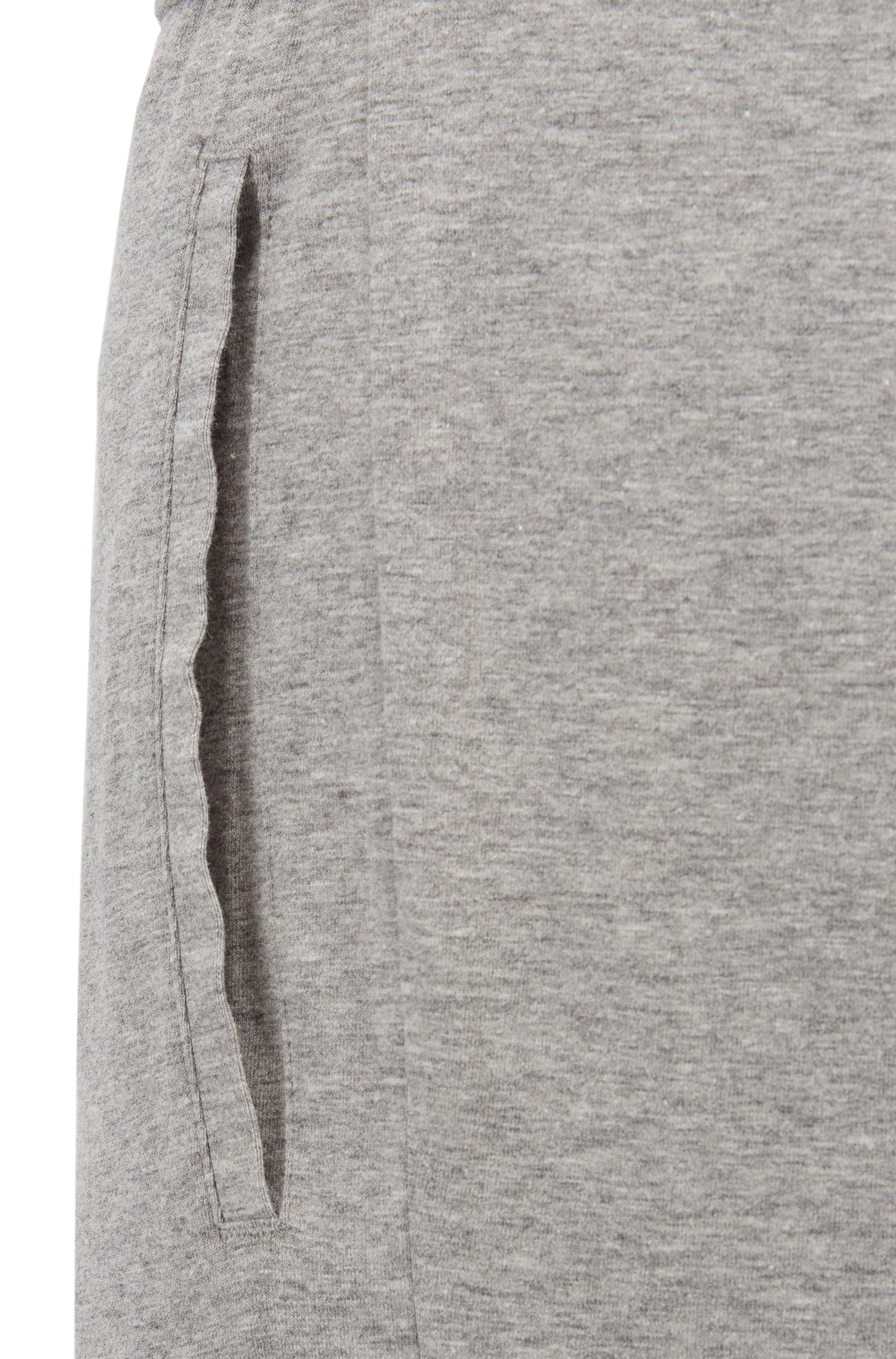 Pyjamabroek van stretchjersey met logoprint opzij, Grijs