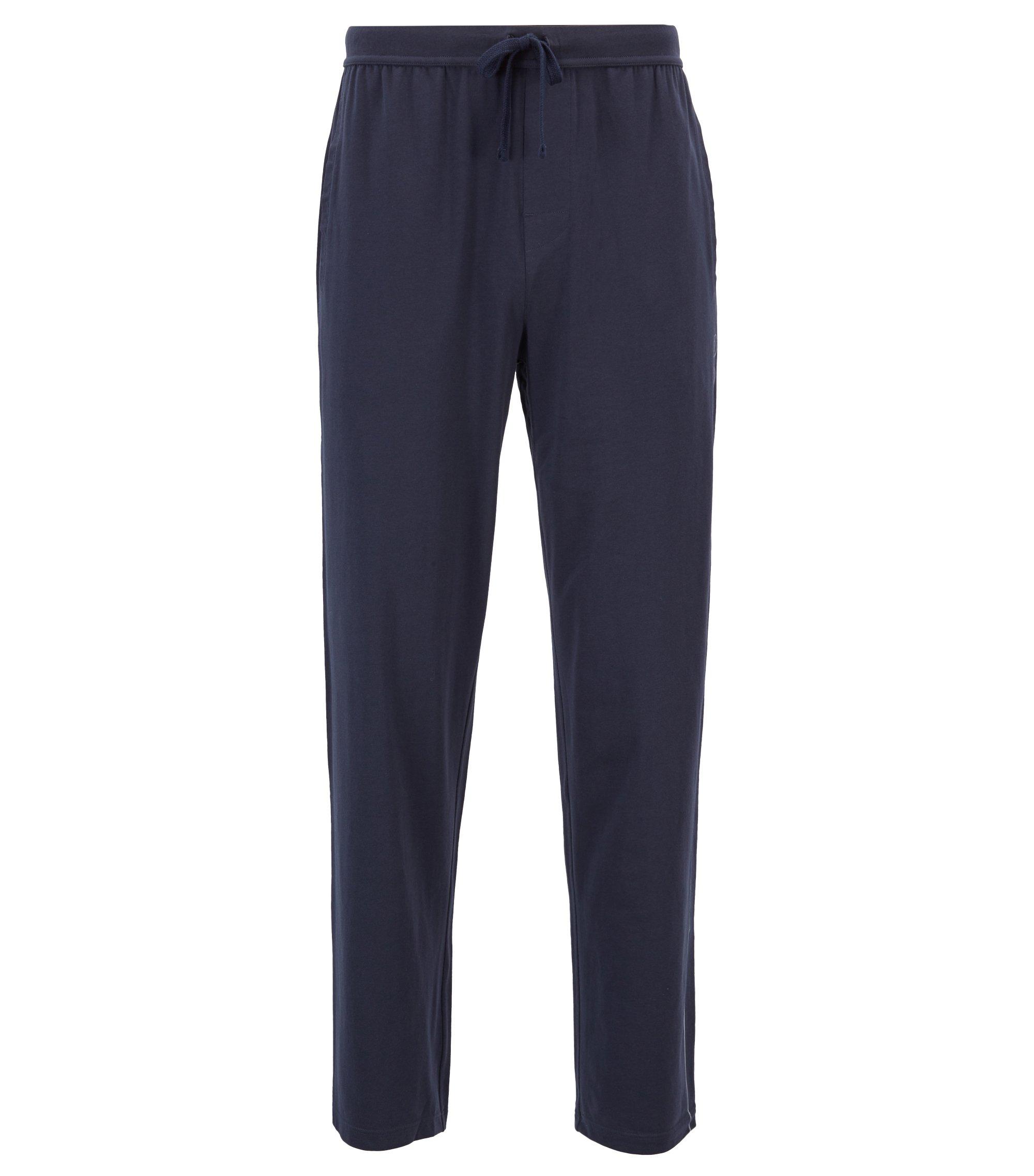 Bas de pyjama en jersey stretch à logo imprimé sur le côté, Bleu foncé