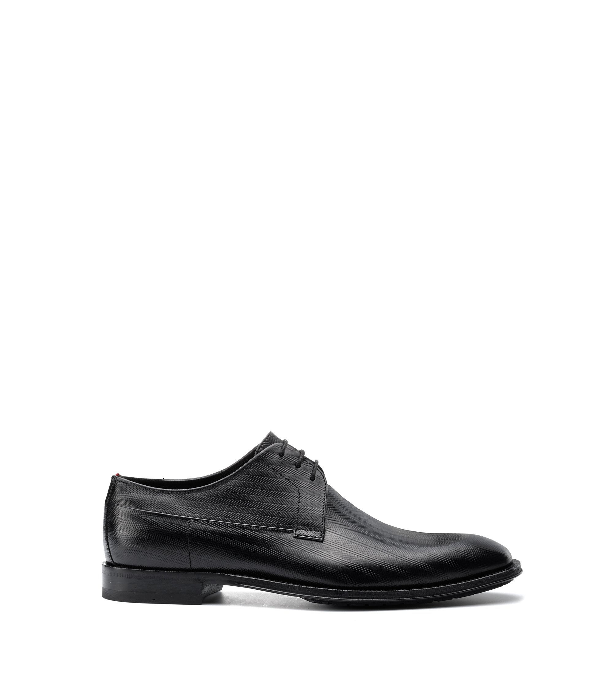 Derby shoes in embossed leather, Black