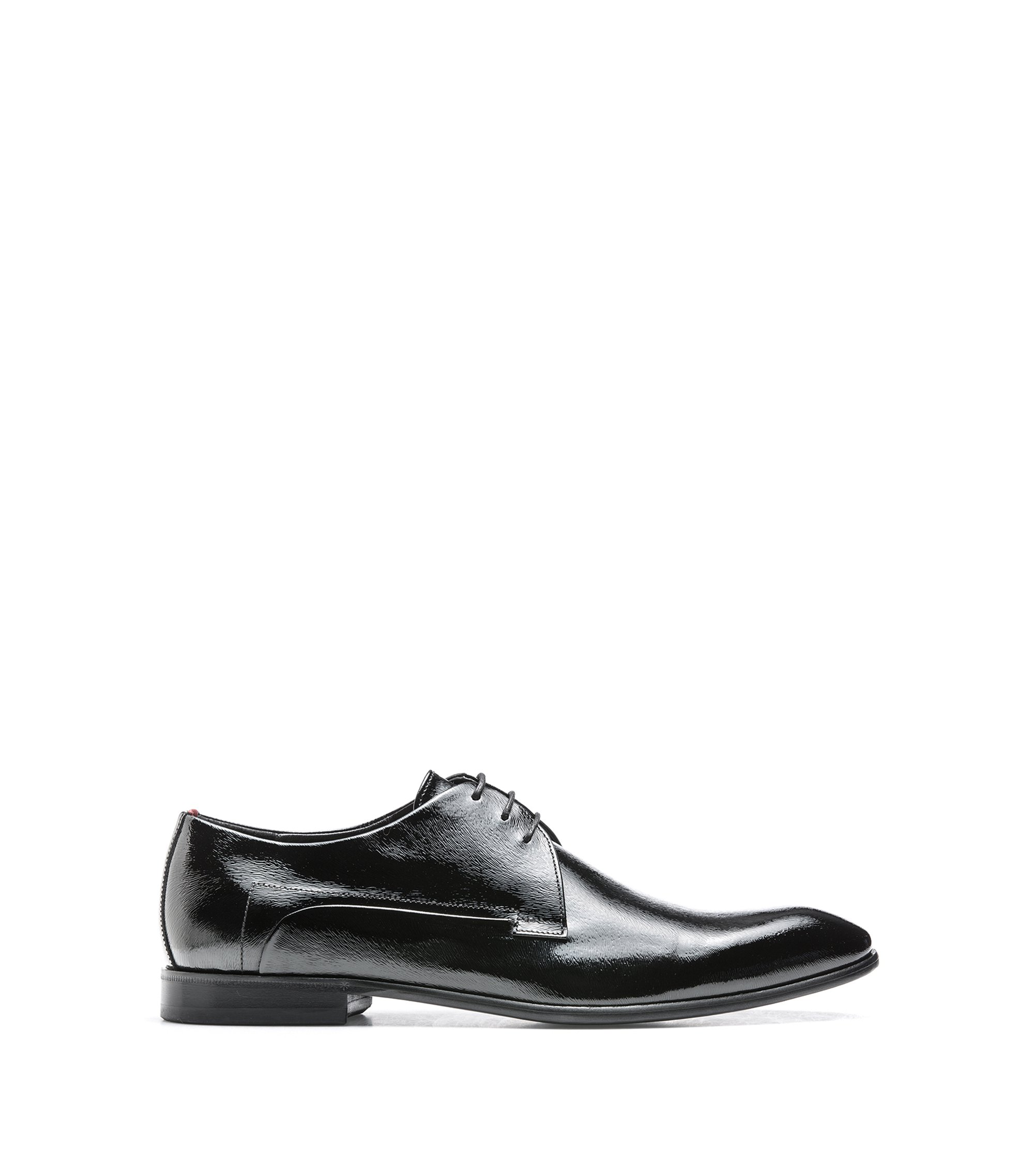 Leather-soled Derby shoes in pony-print patent leather, Black