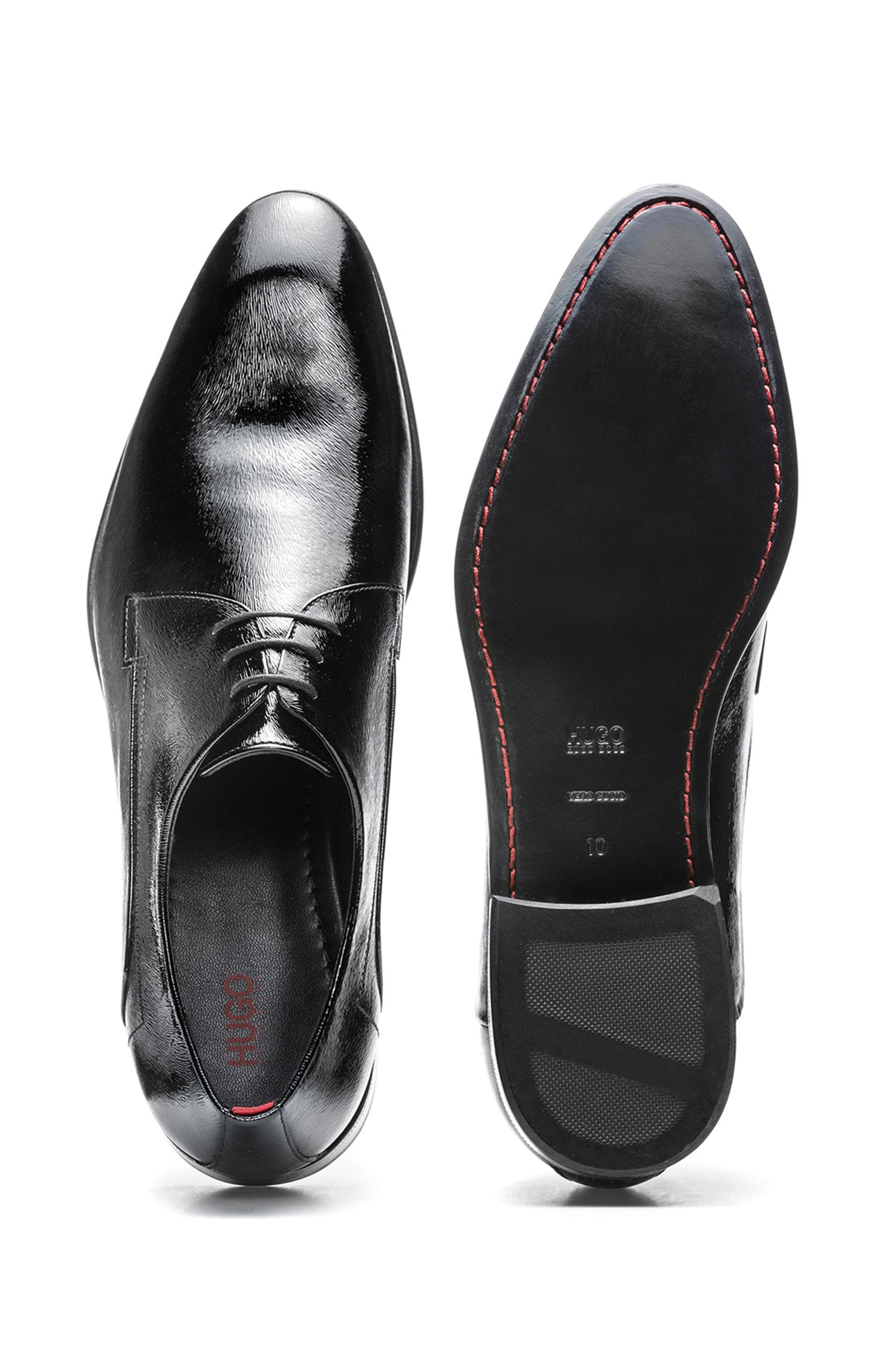 Leather-soled Derby shoes in pony-print patent leather