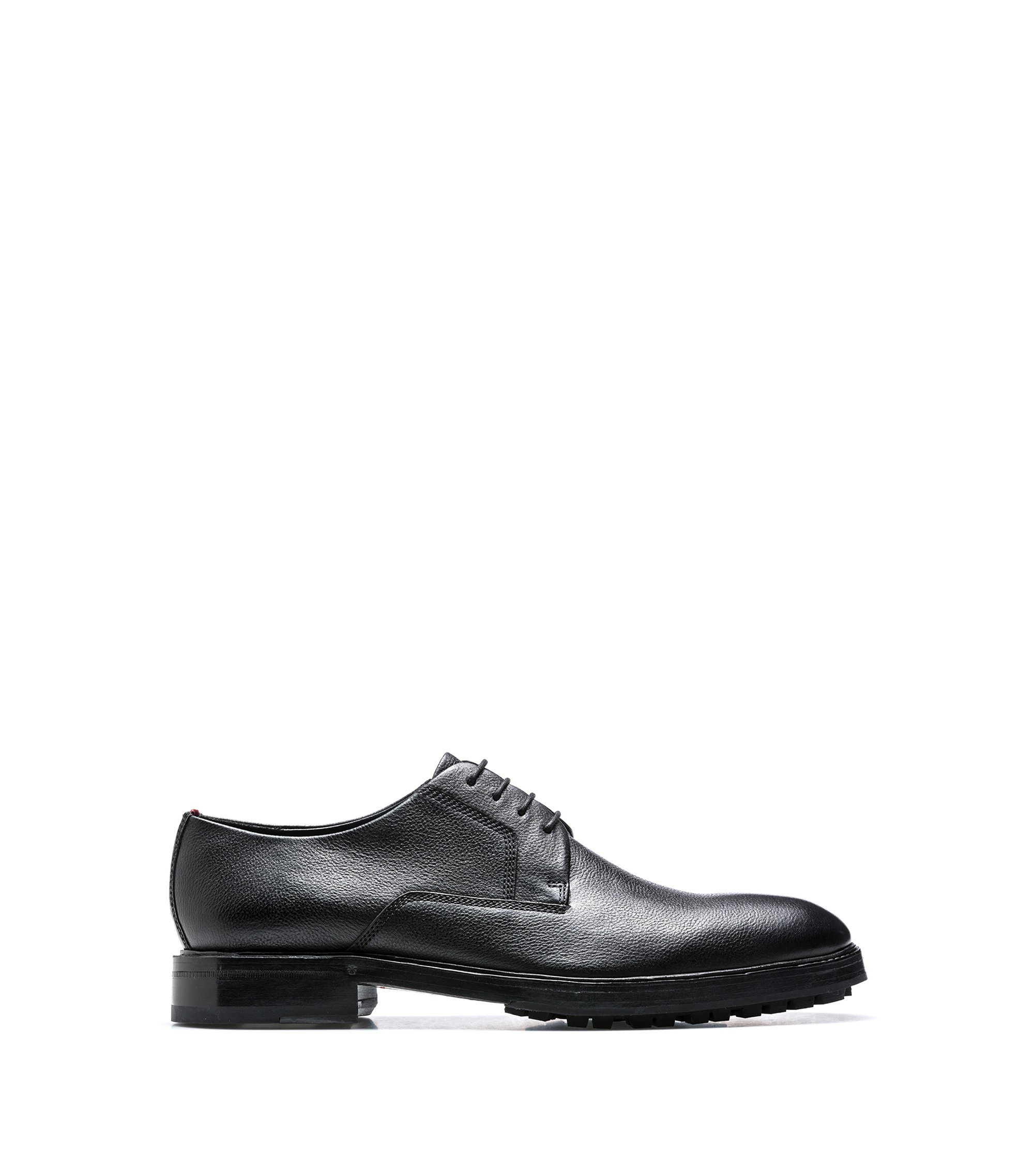 Tumbled-leather Derby shoes with lugged soles, Black