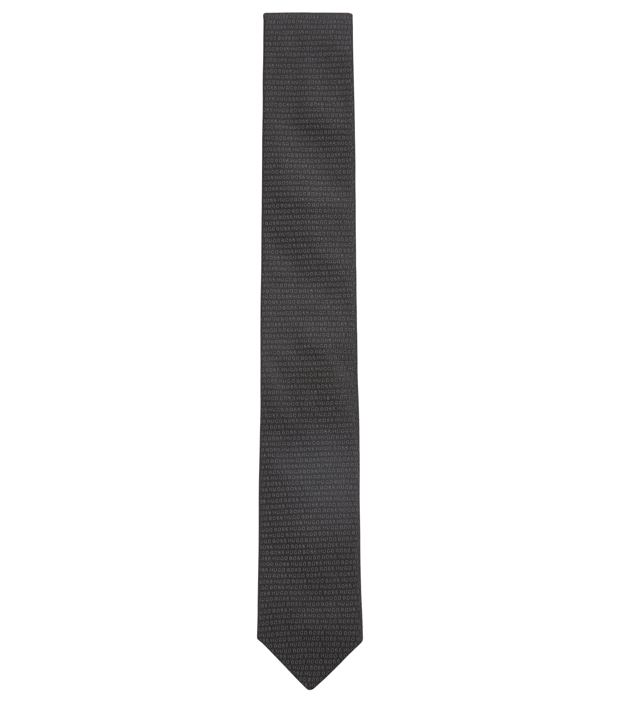 Italian-made silk tie with jacquard logo, Black