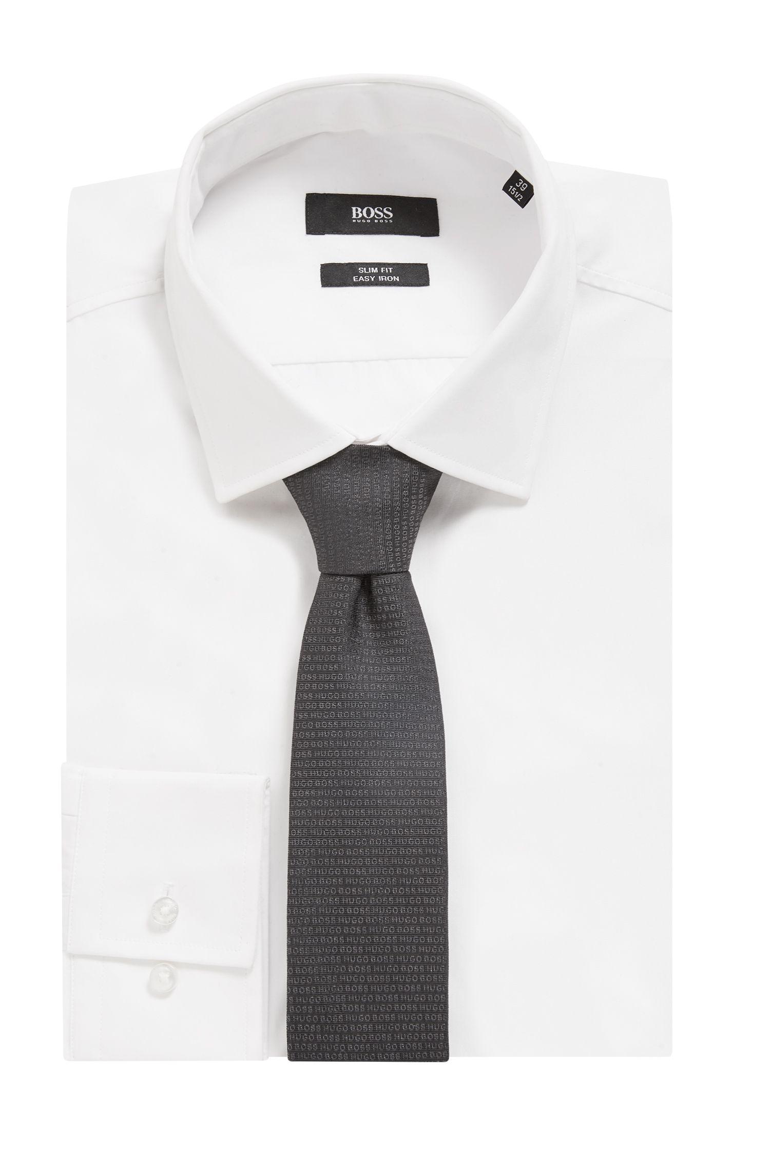 In Italië vervaardigde stropdas van zijde met jacquardgeweven logo, Zwart
